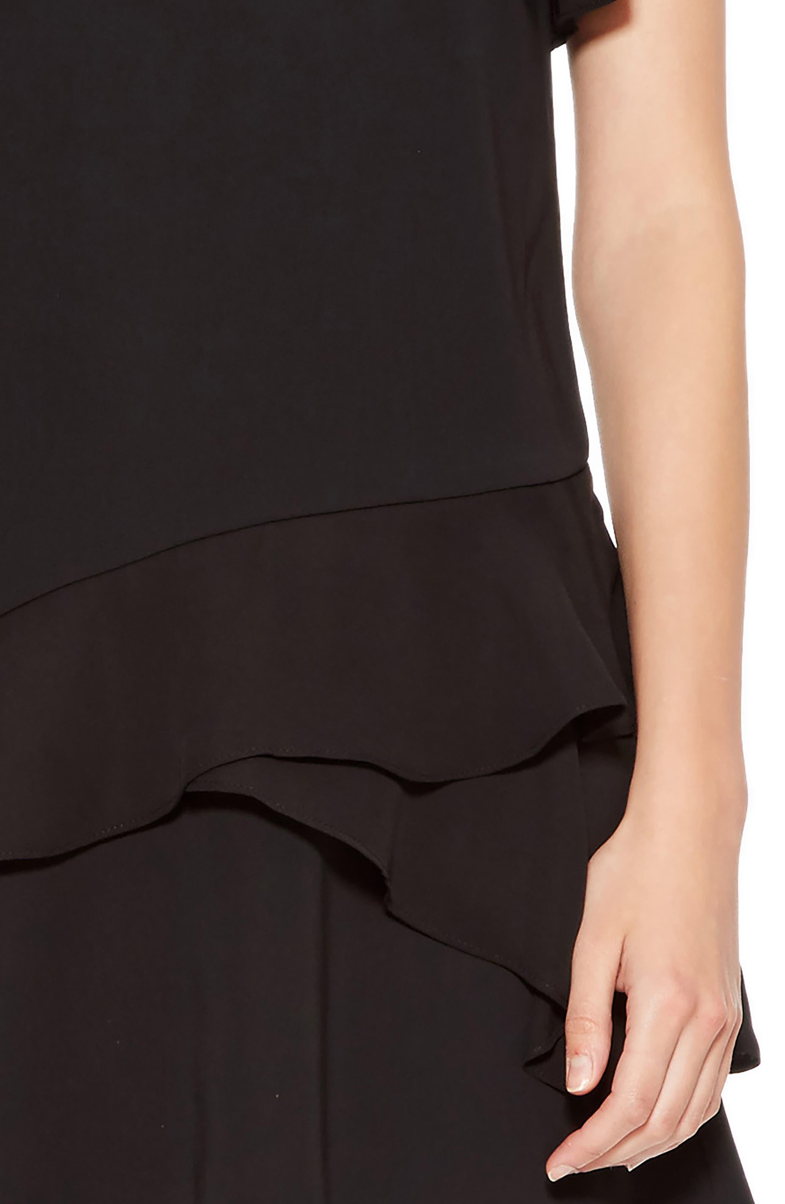 Serafina Combo Dress,                             Alternate thumbnail 4, color,                             BLACK