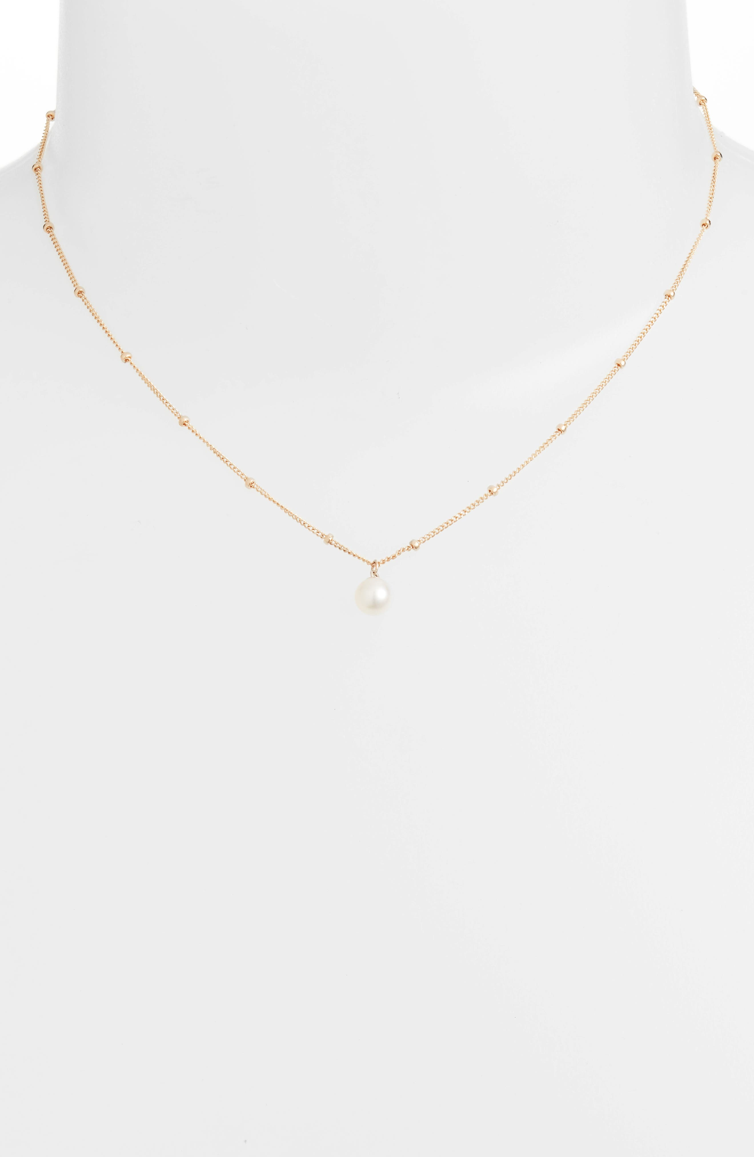 Baby Pearl Bead Choker Necklace,                             Alternate thumbnail 2, color,                             YELLOW GOLD/ WHITE PEARL