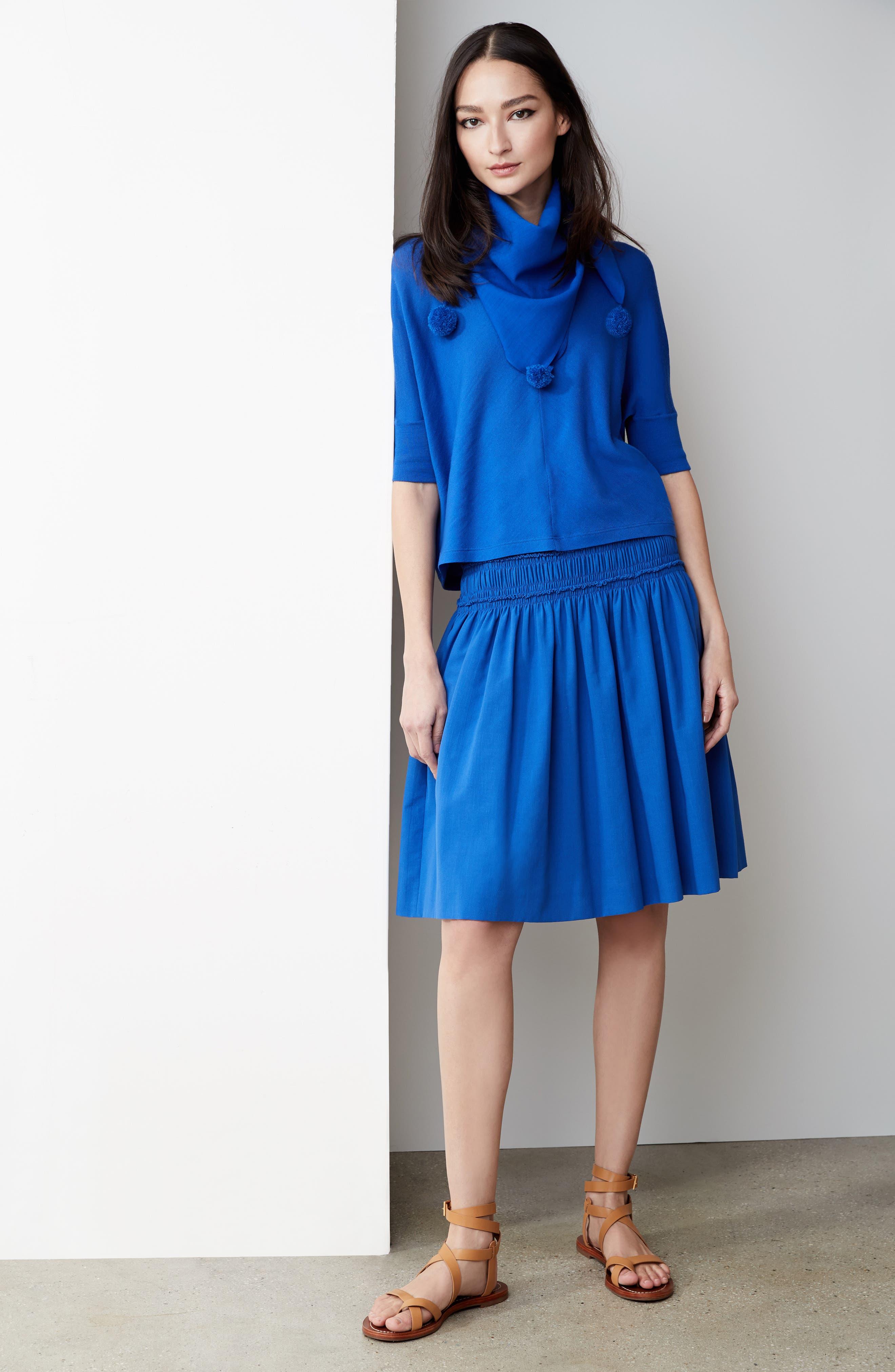 Akris Smocked Ruffle Skirt,                             Alternate thumbnail 6, color,                             400