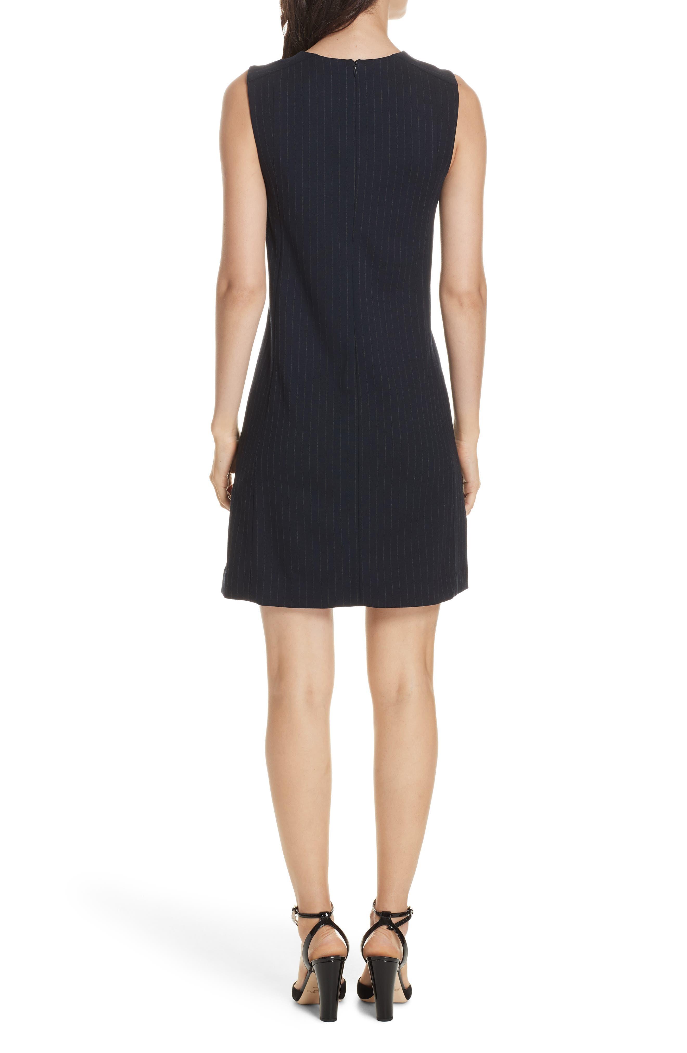 Pinstripe A-Line Dress,                             Alternate thumbnail 2, color,                             DEEP NAVY