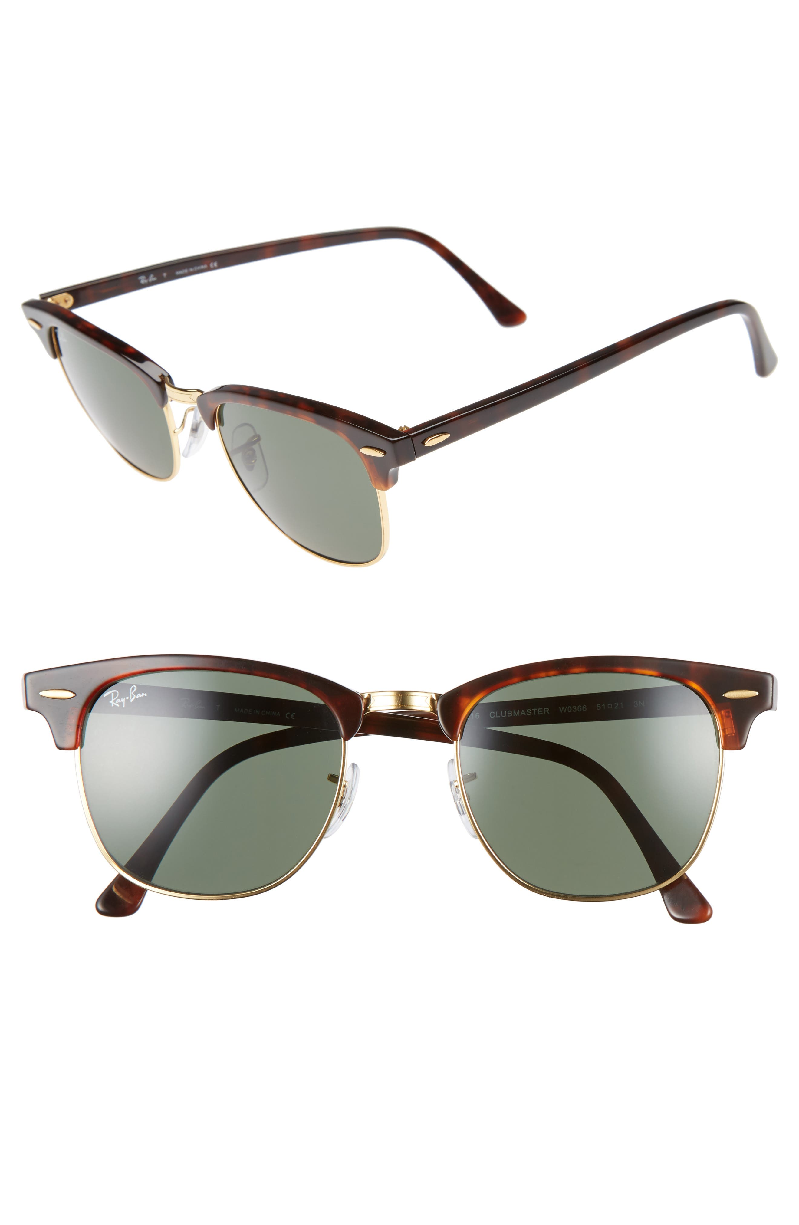 51mm Aviator Sunglasses,                         Main,                         color, GOLD/ GREEN