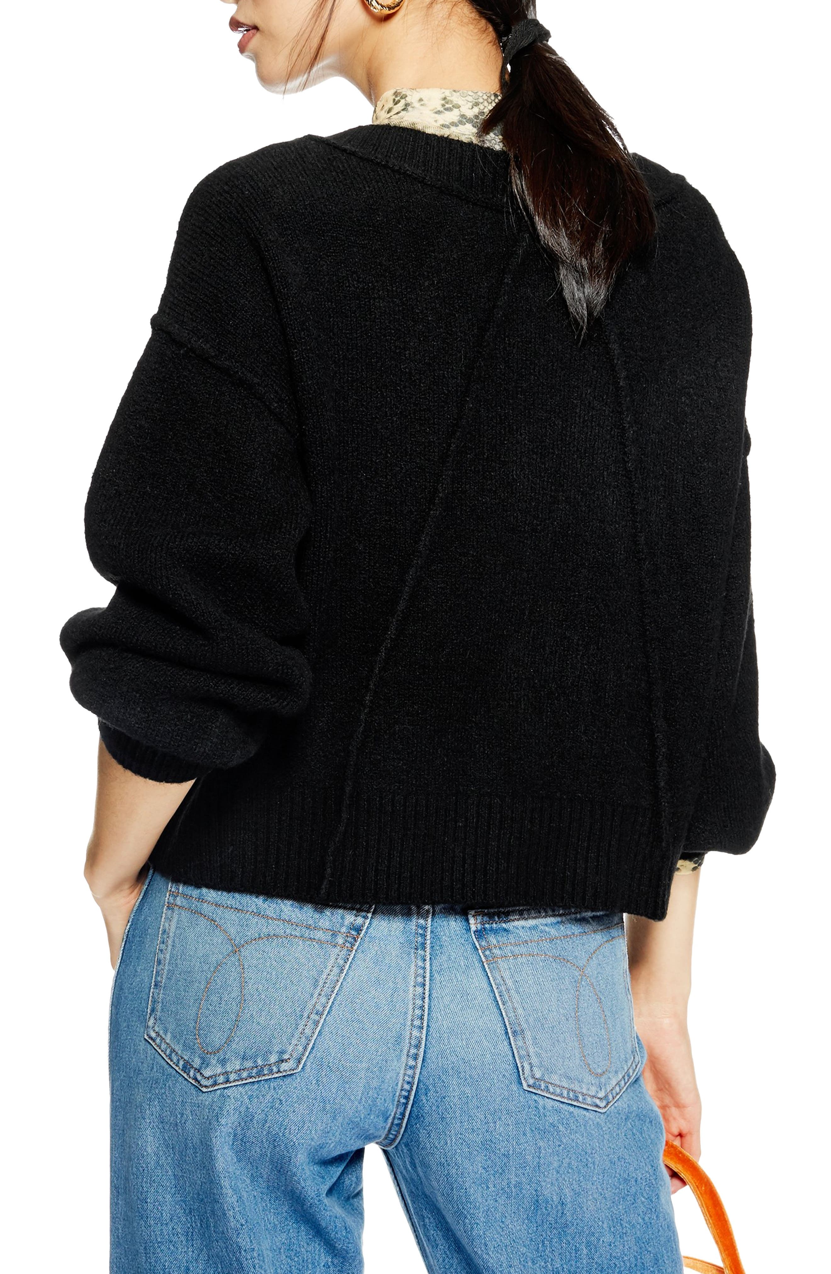 TOPSHOP,                             Horn Button Crop Cardigan,                             Alternate thumbnail 2, color,                             BLACK