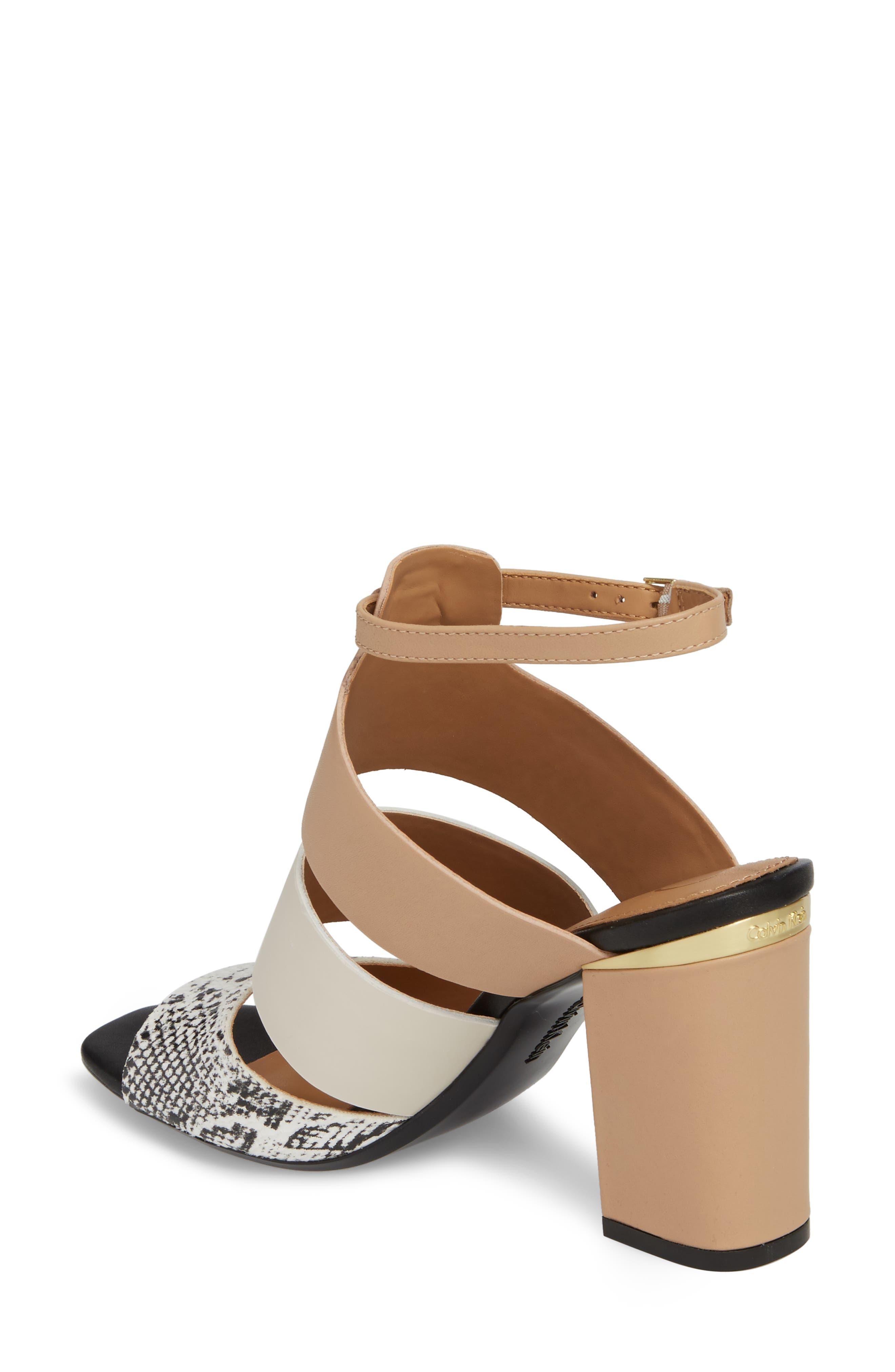 Caran Block Heel Sandal,                             Alternate thumbnail 2, color,                             BLACK/ WHITE LEATHER