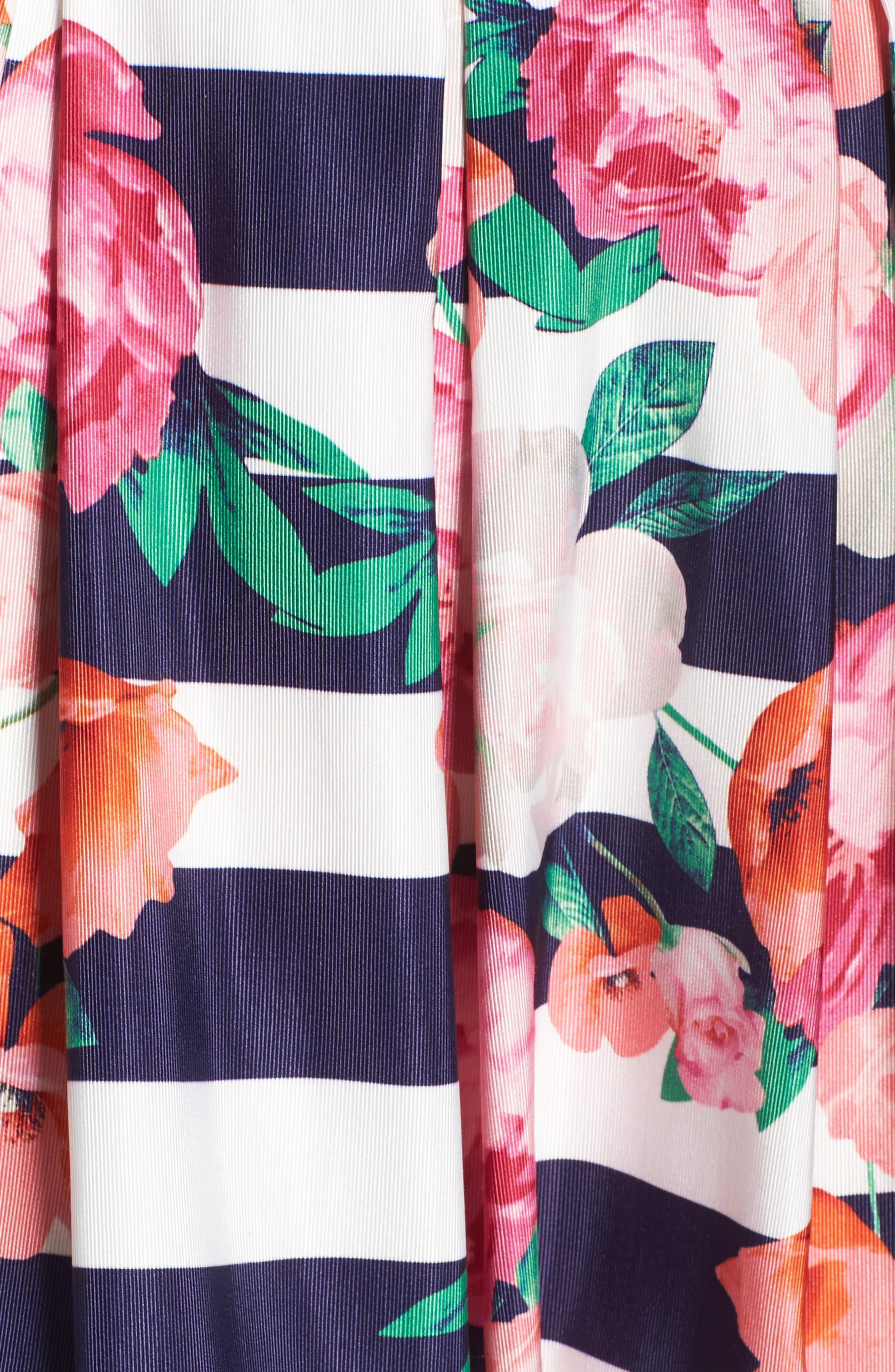 Floral Stripe Midi Skirt,                             Alternate thumbnail 5, color,                             650