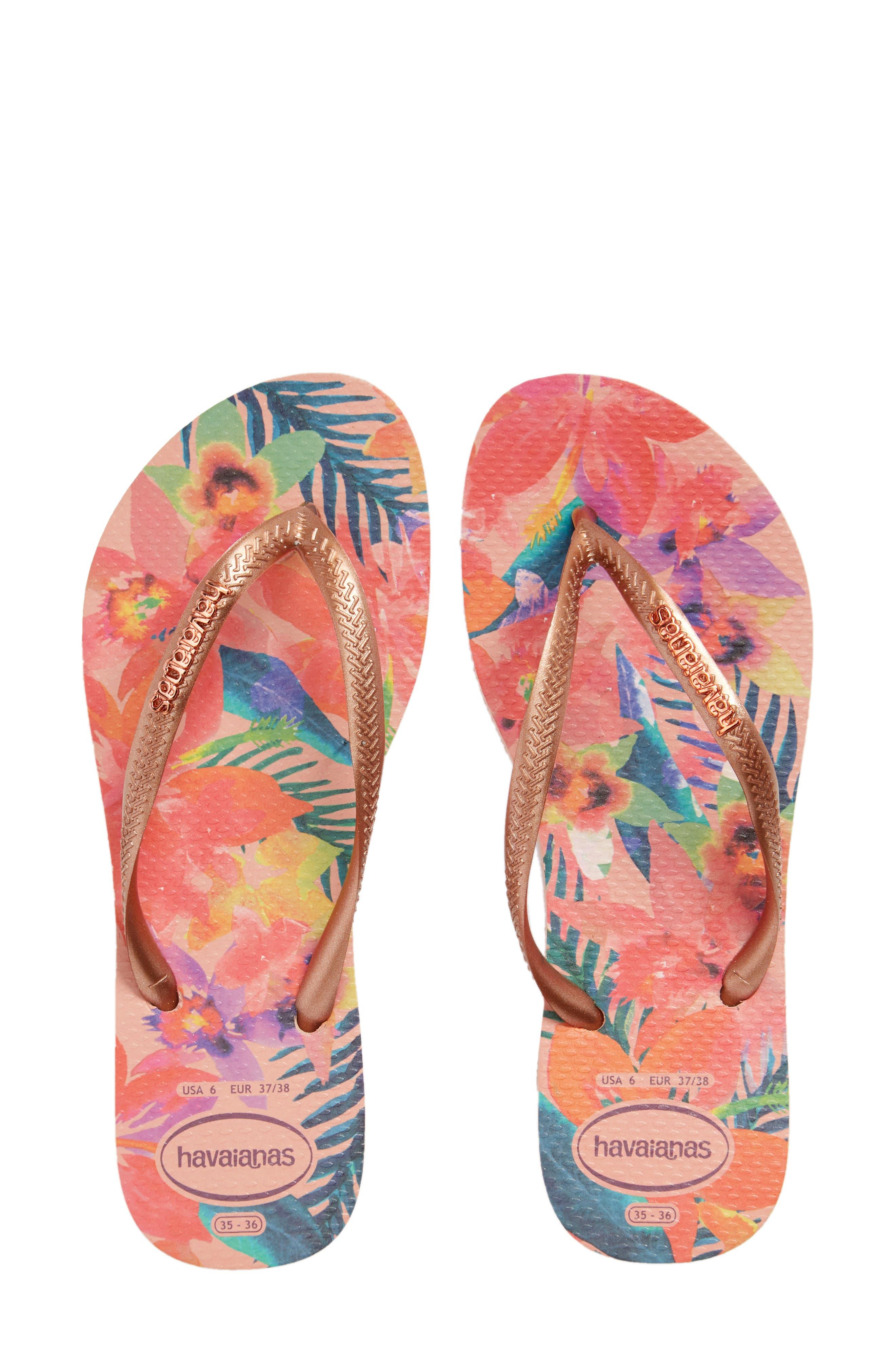 'Slim Tropical' Flip Flop,                             Main thumbnail 1, color,                             BALLET ROSE