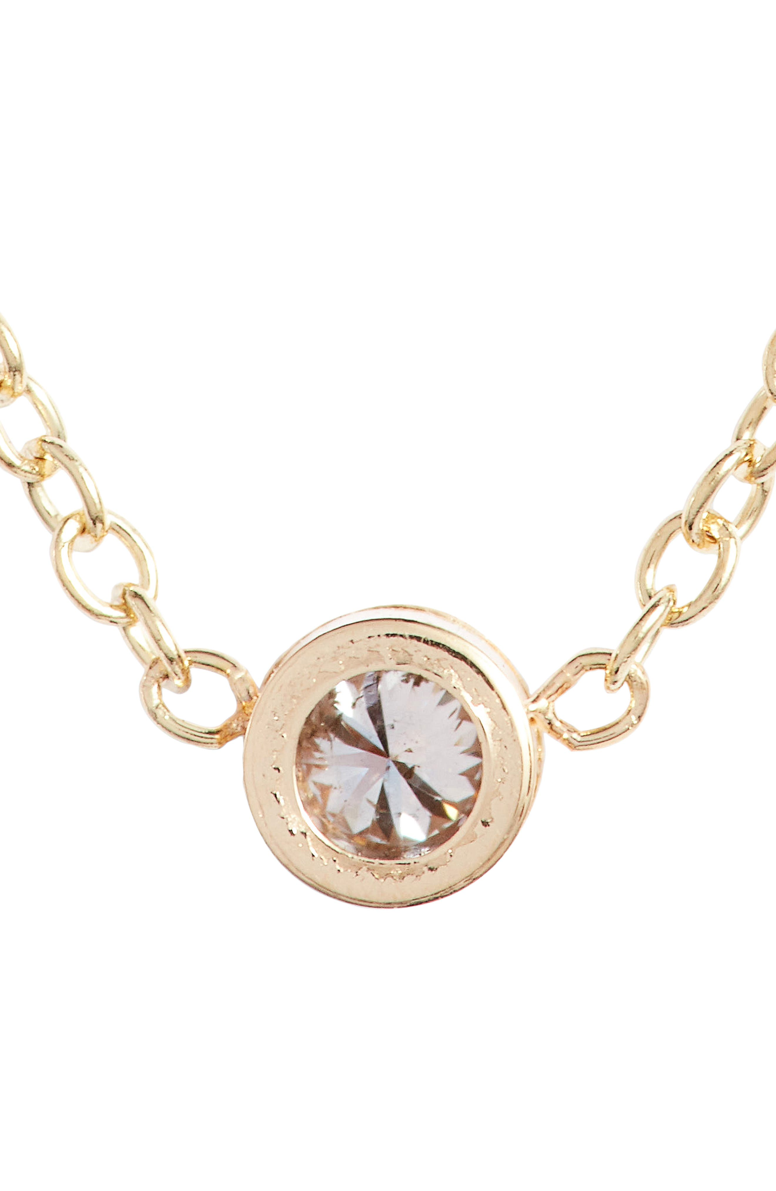 Diamond Bezel Pendant Necklace,                             Alternate thumbnail 5, color,                             YELLOW GOLD