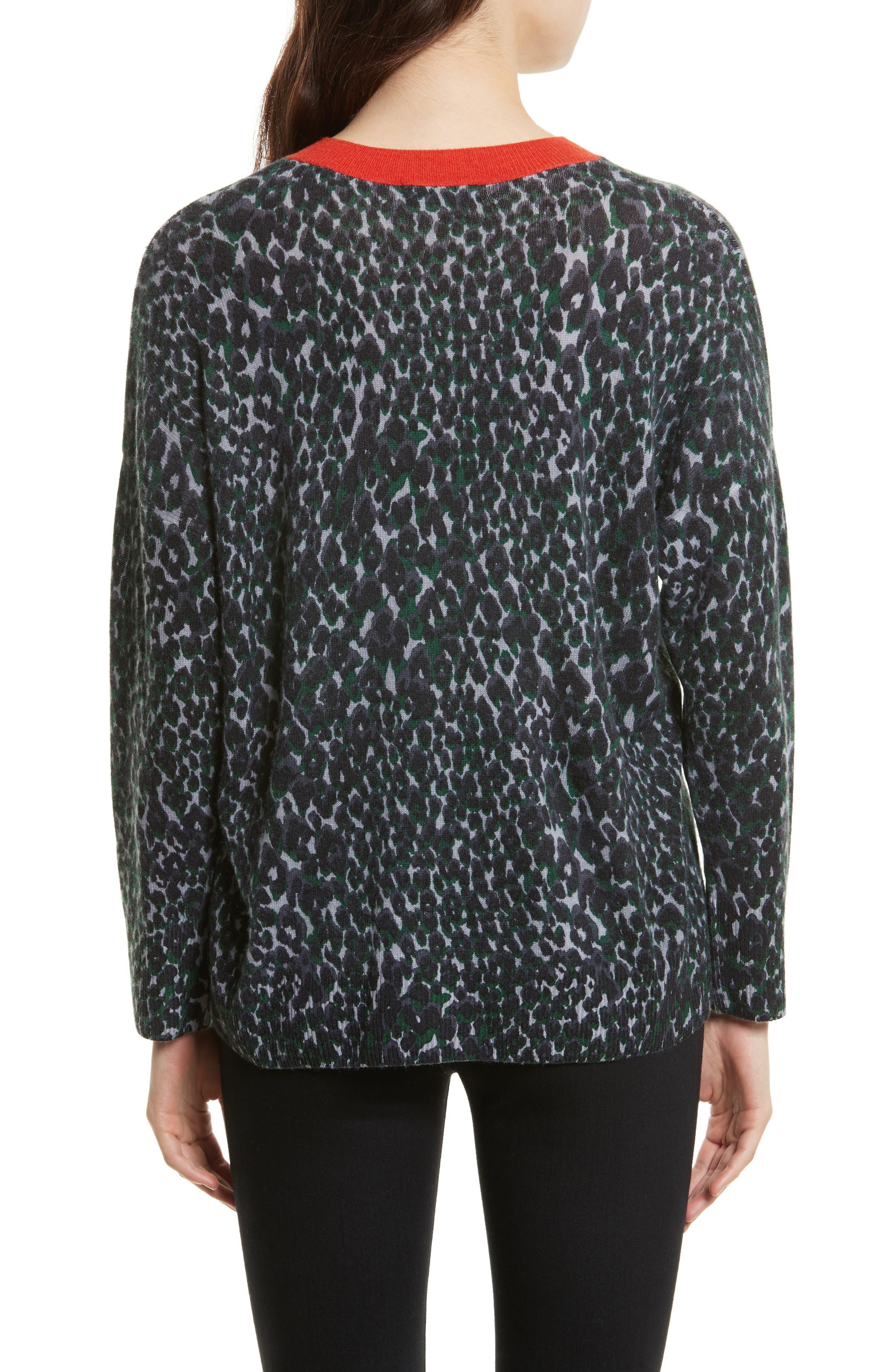 Melanie Leopard Print Cashmere Sweater,                             Alternate thumbnail 2, color,                             073