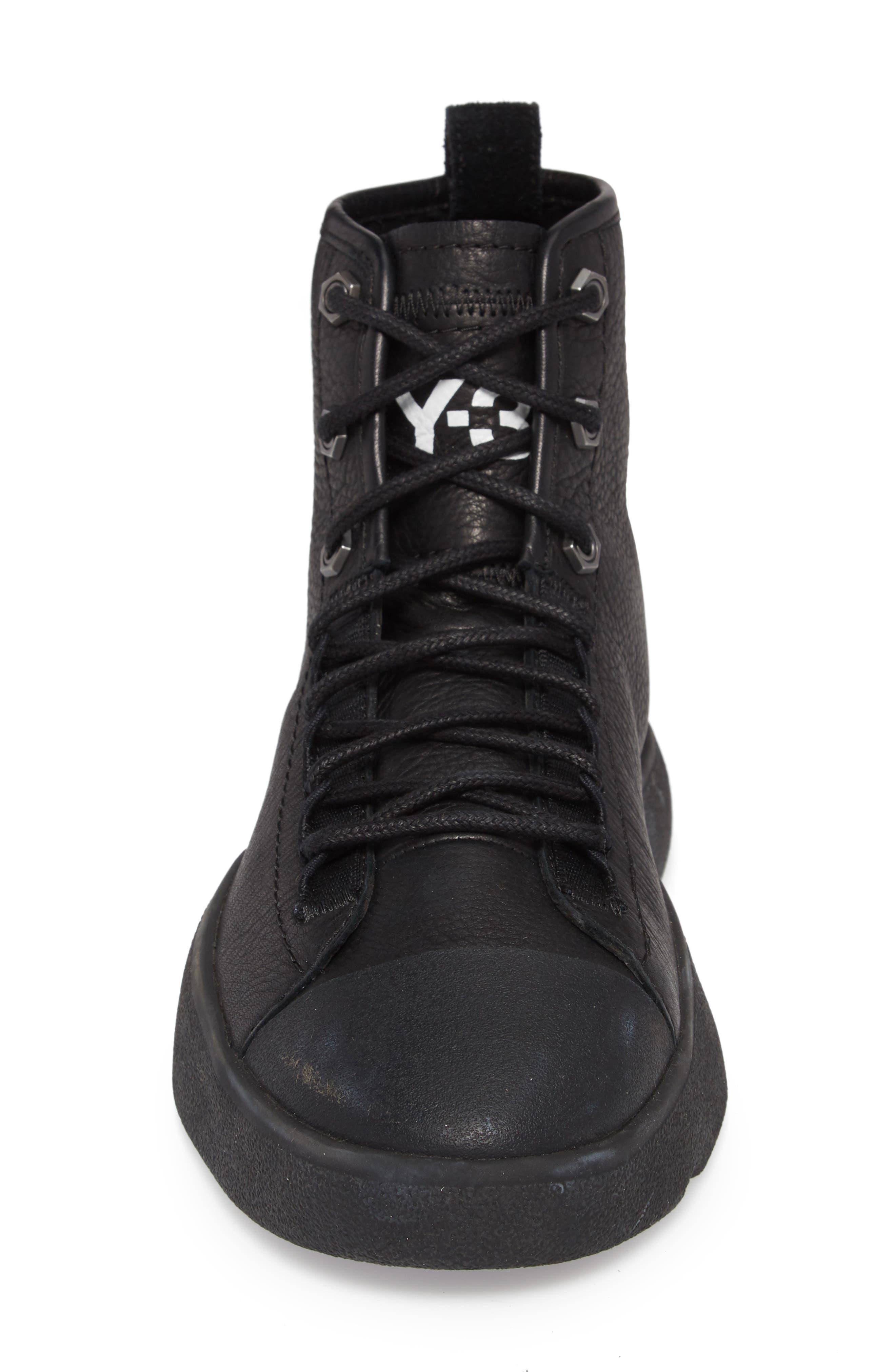 x adidas Bashyo High Top Sneaker,                             Alternate thumbnail 4, color,                             BLACK/BLACK