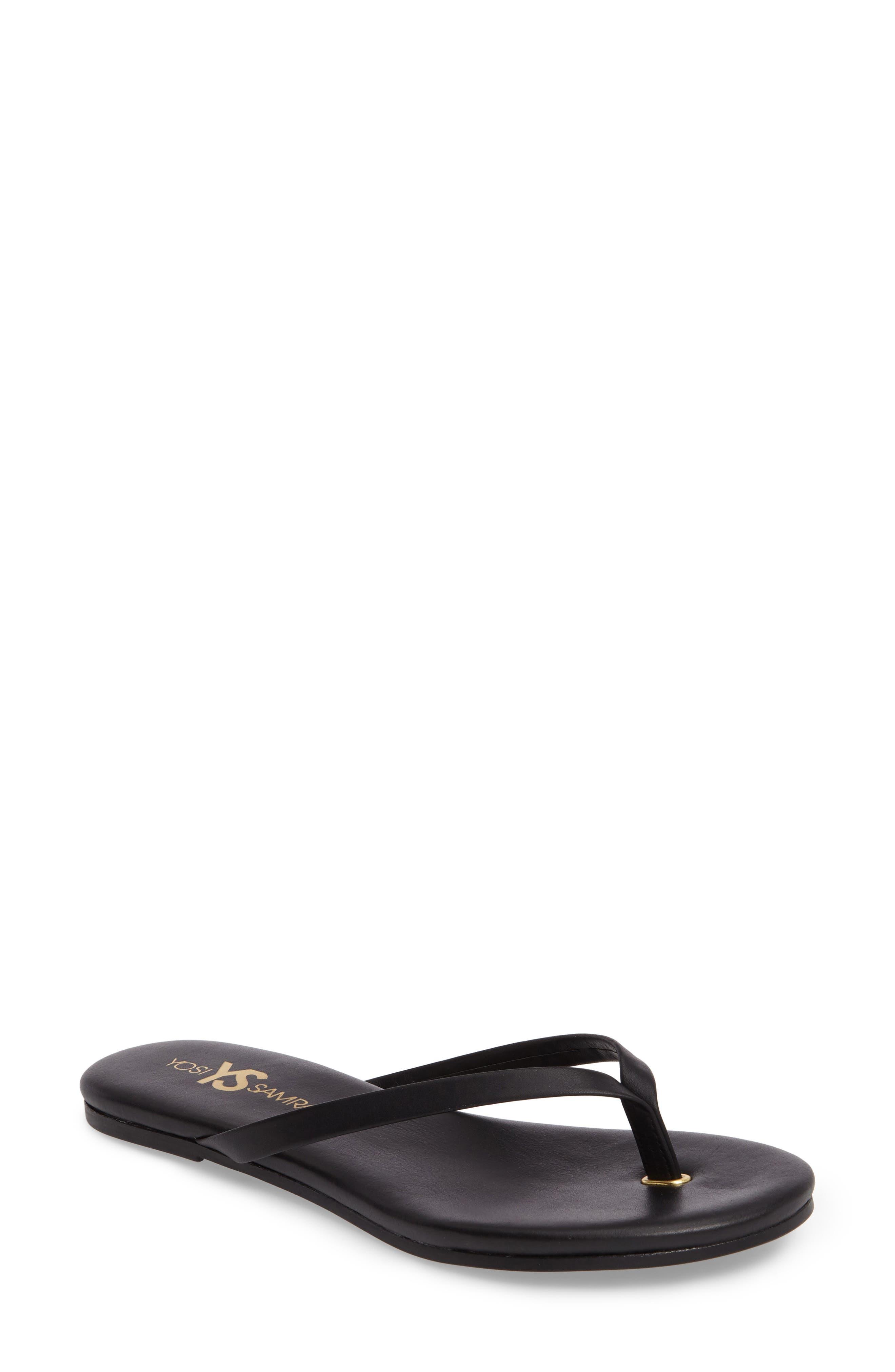 Rivington Flip Flop,                         Main,                         color, BLACK LEATHER