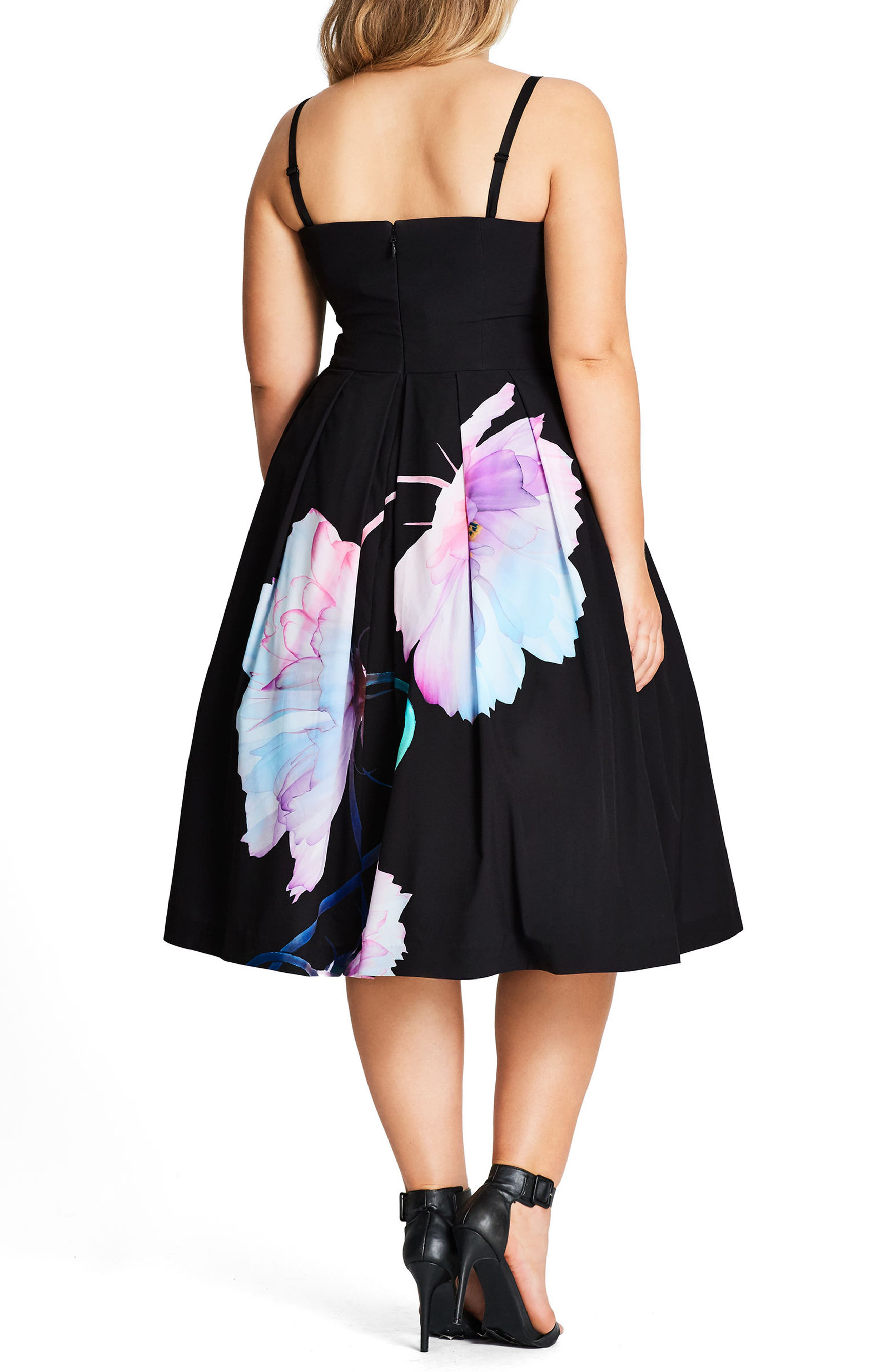 Pretty Bloom Convertible Sundress,                             Alternate thumbnail 2, color,                             BLACK