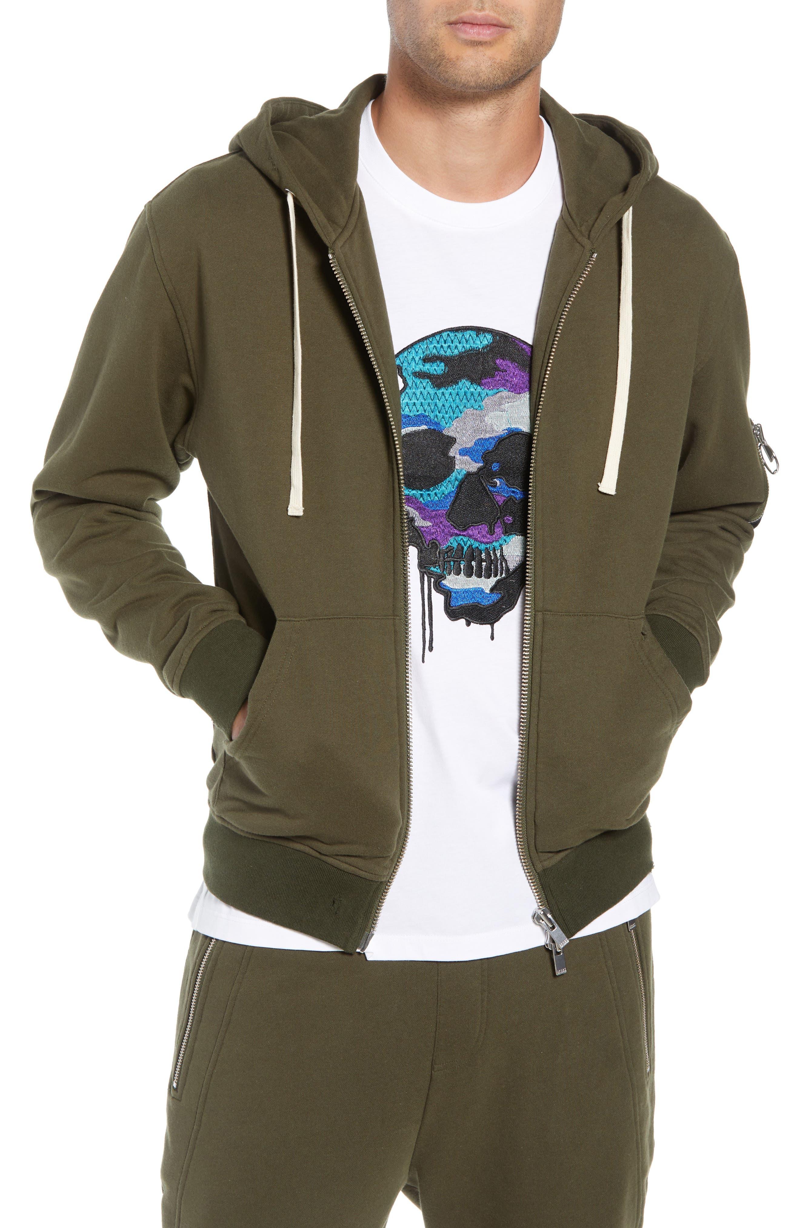 THE KOOPLES Distressed Zip Front Hooded Sweatshirt in Khaki