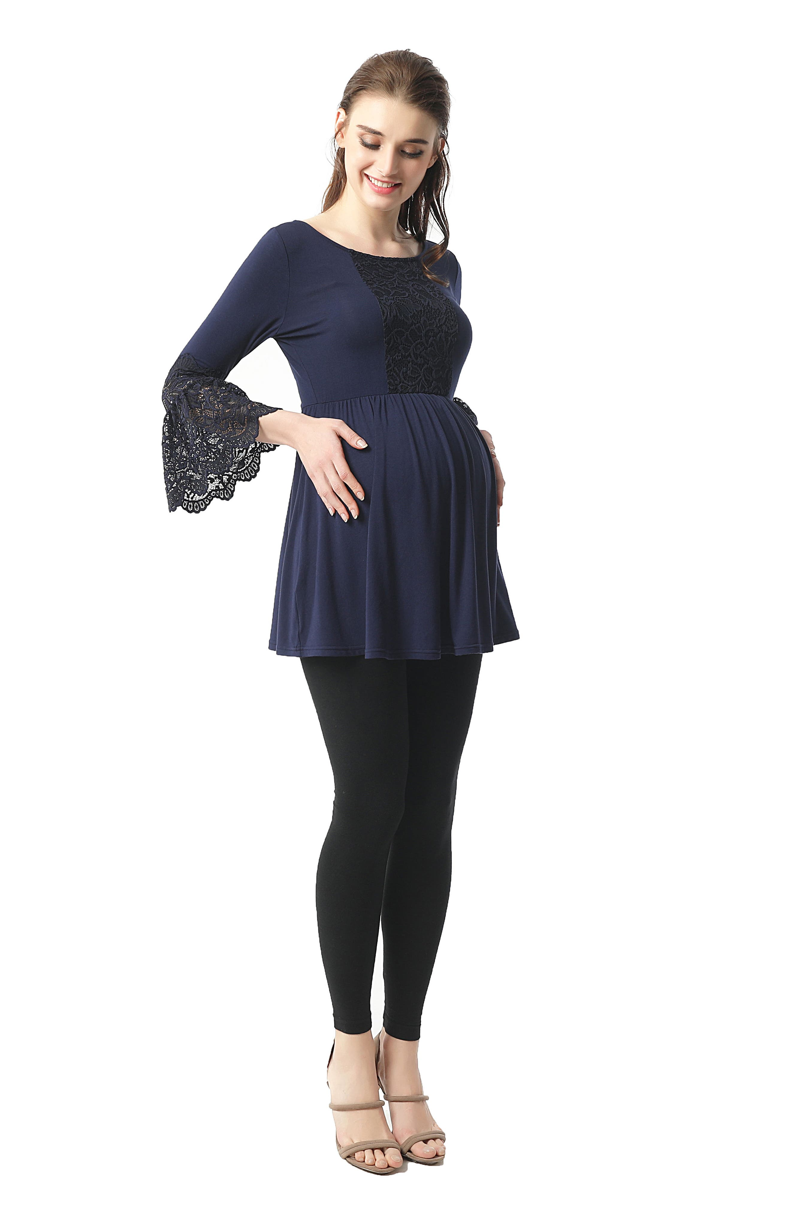 Alexis Bell Sleeve Babydoll Maternity Top,                             Alternate thumbnail 4, color,                             NAVY