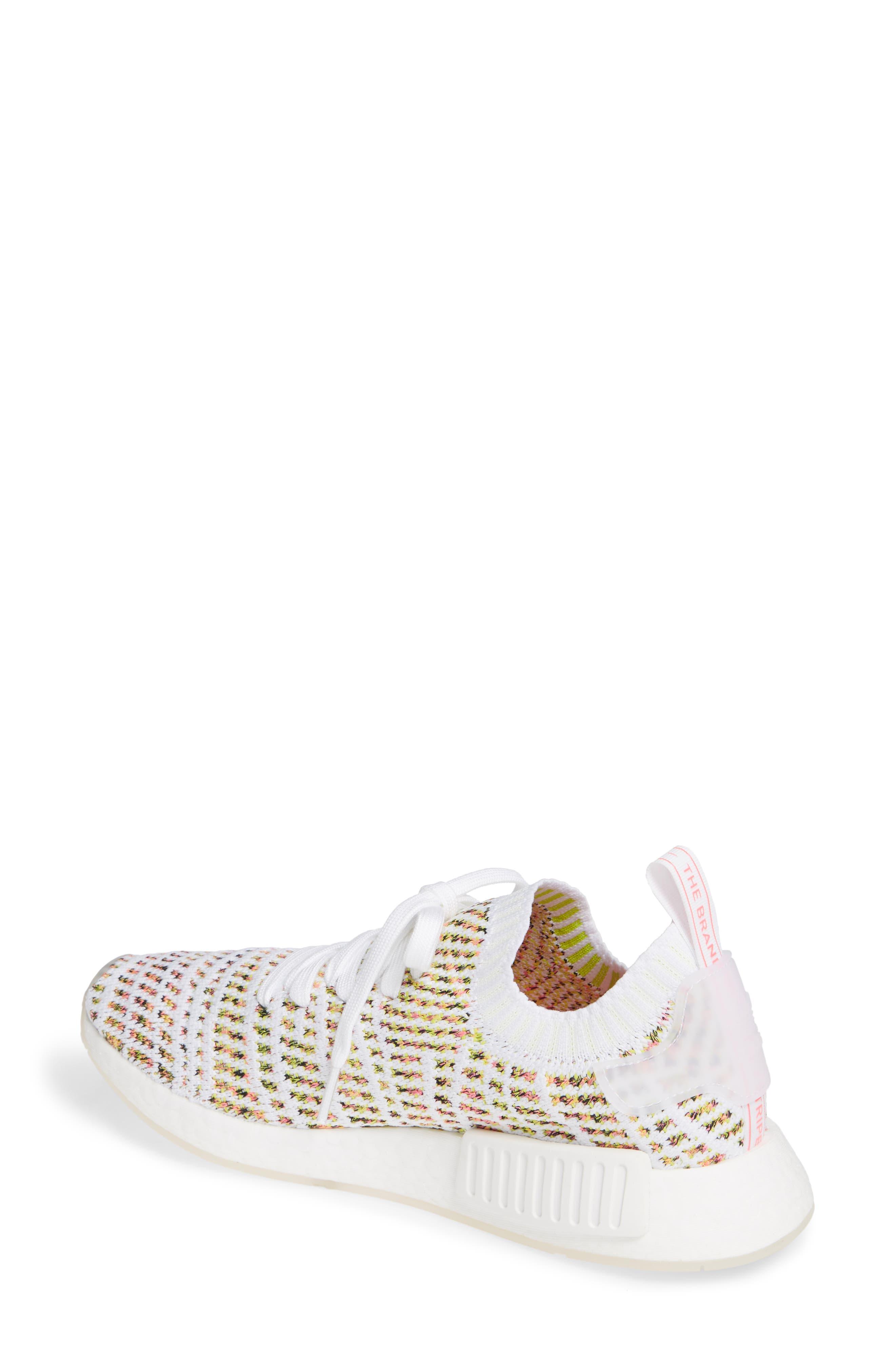 NMD R1 STLT Primeknit Sneaker,                             Alternate thumbnail 2, color,                             WHITE/ YELLOW/ SOLAR PINK