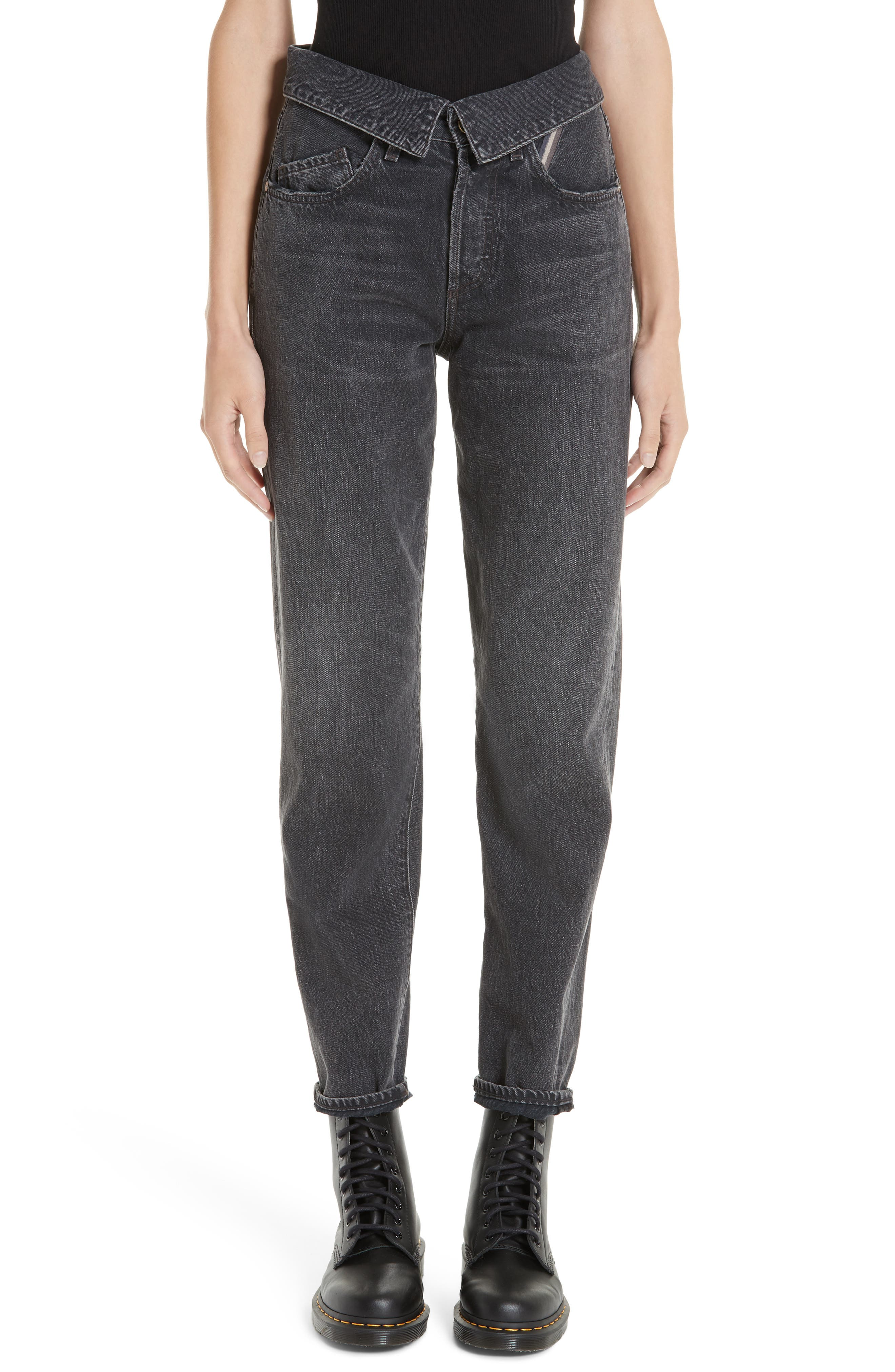 JEAN ATELIER,                             Flip Straight Leg Jeans,                             Main thumbnail 1, color,                             ONYX