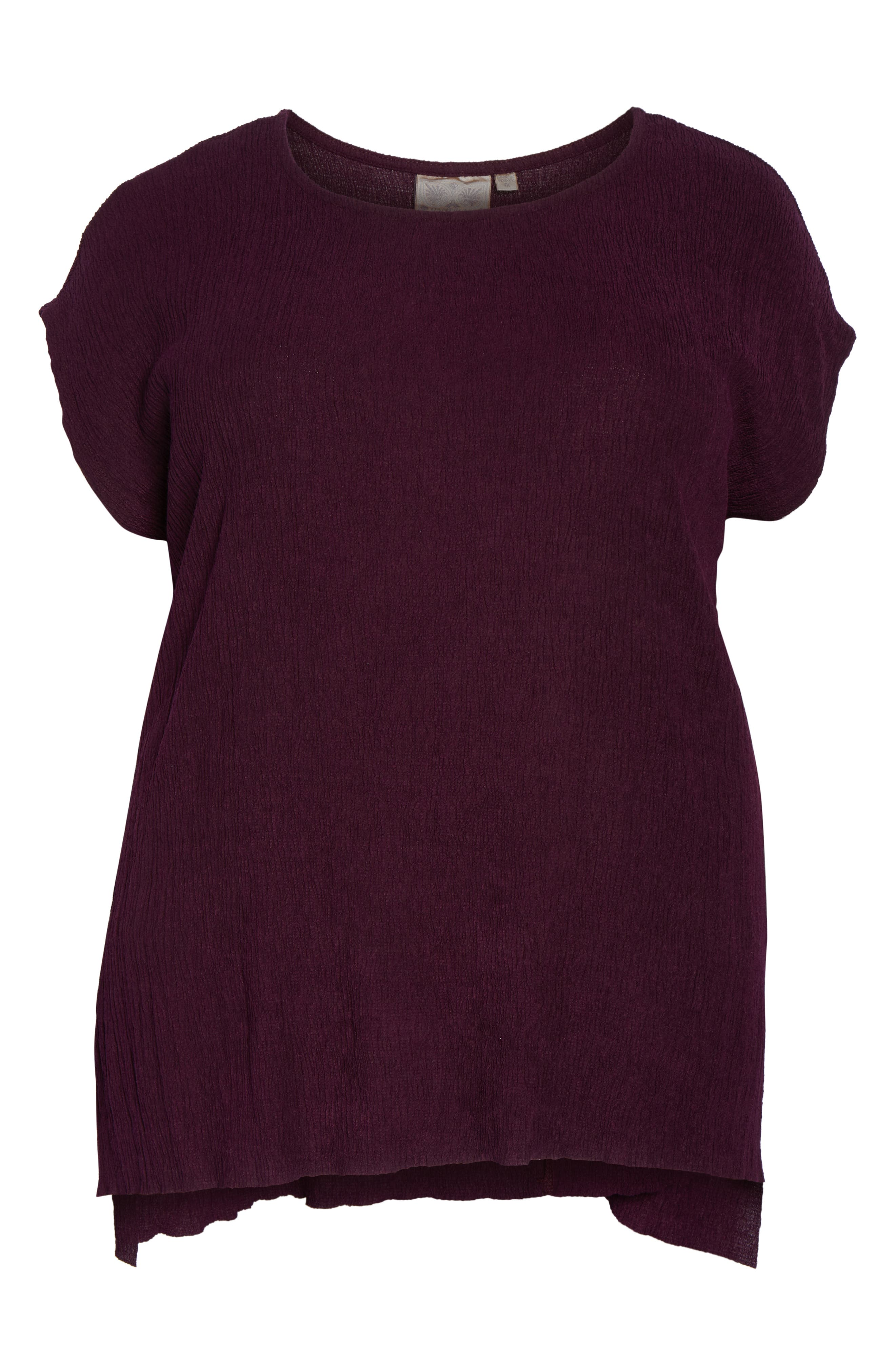 High/Low Crinkle Top,                             Alternate thumbnail 7, color,                             PLUM WINE