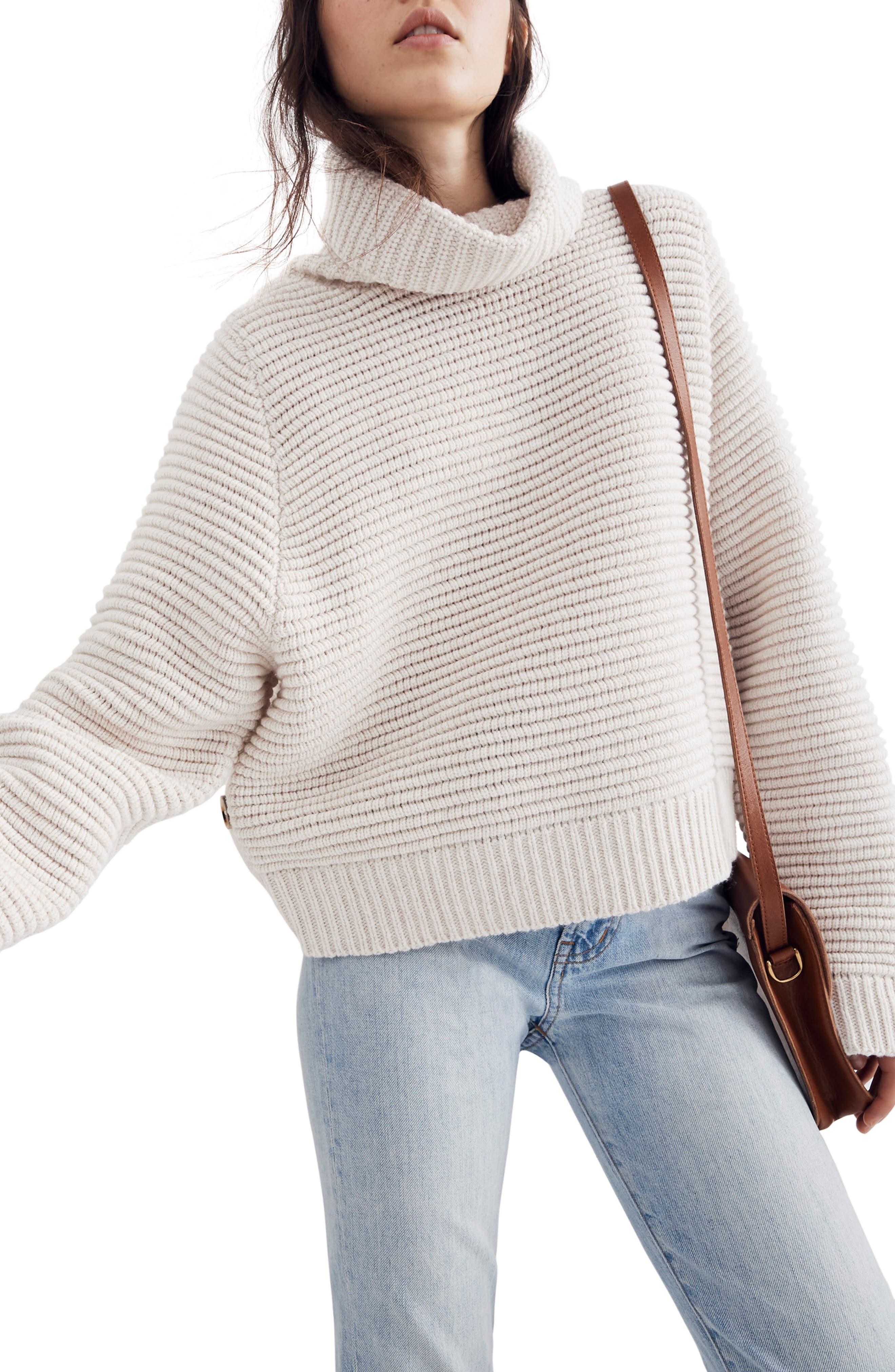 Side Button Turtleneck Sweater,                             Main thumbnail 1, color,                             HEATHER OAK