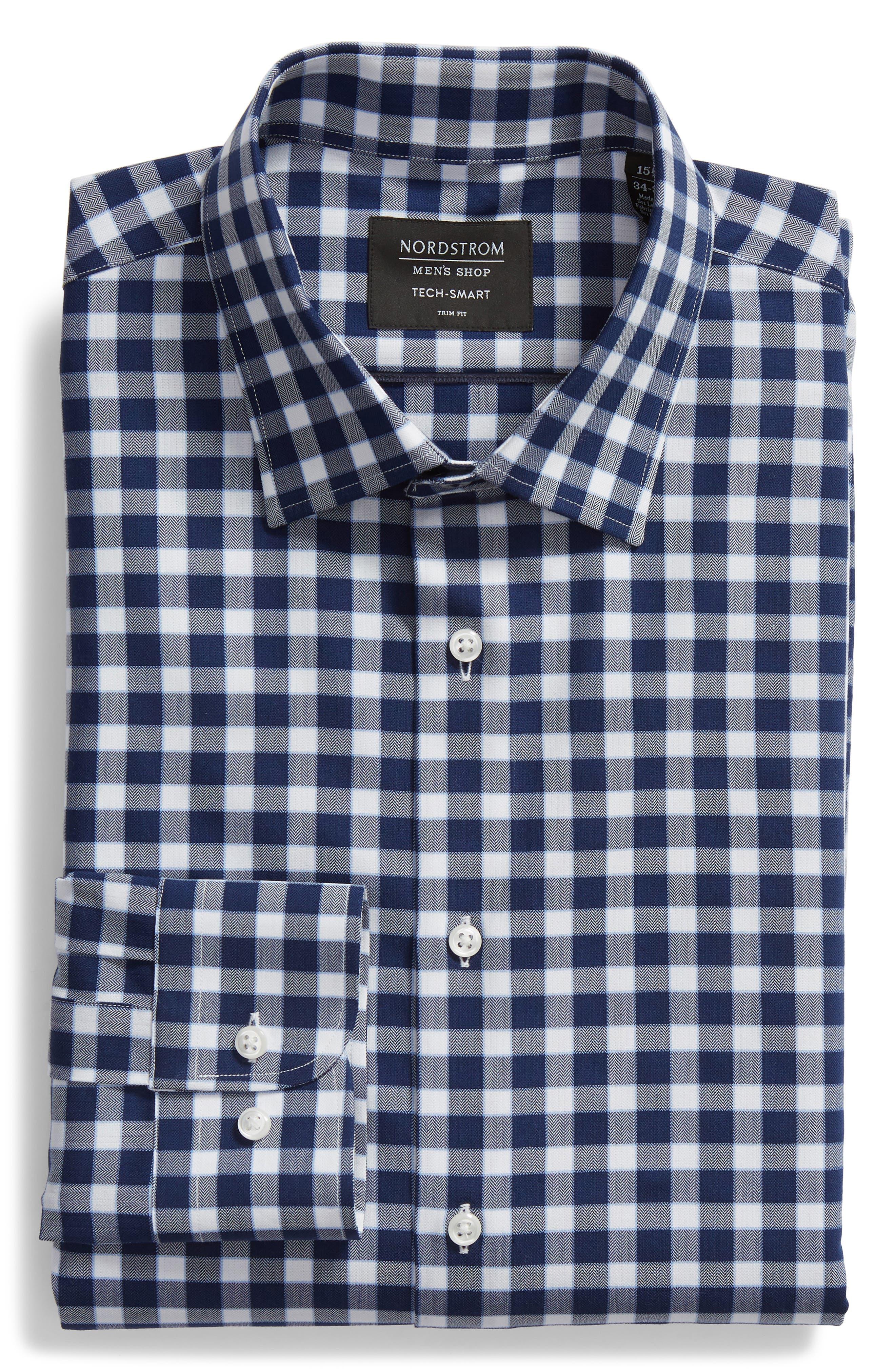 Tech-Smart Trim Fit Stretch Check Dress Shirt,                             Alternate thumbnail 5, color,                             NAVY PEACOAT