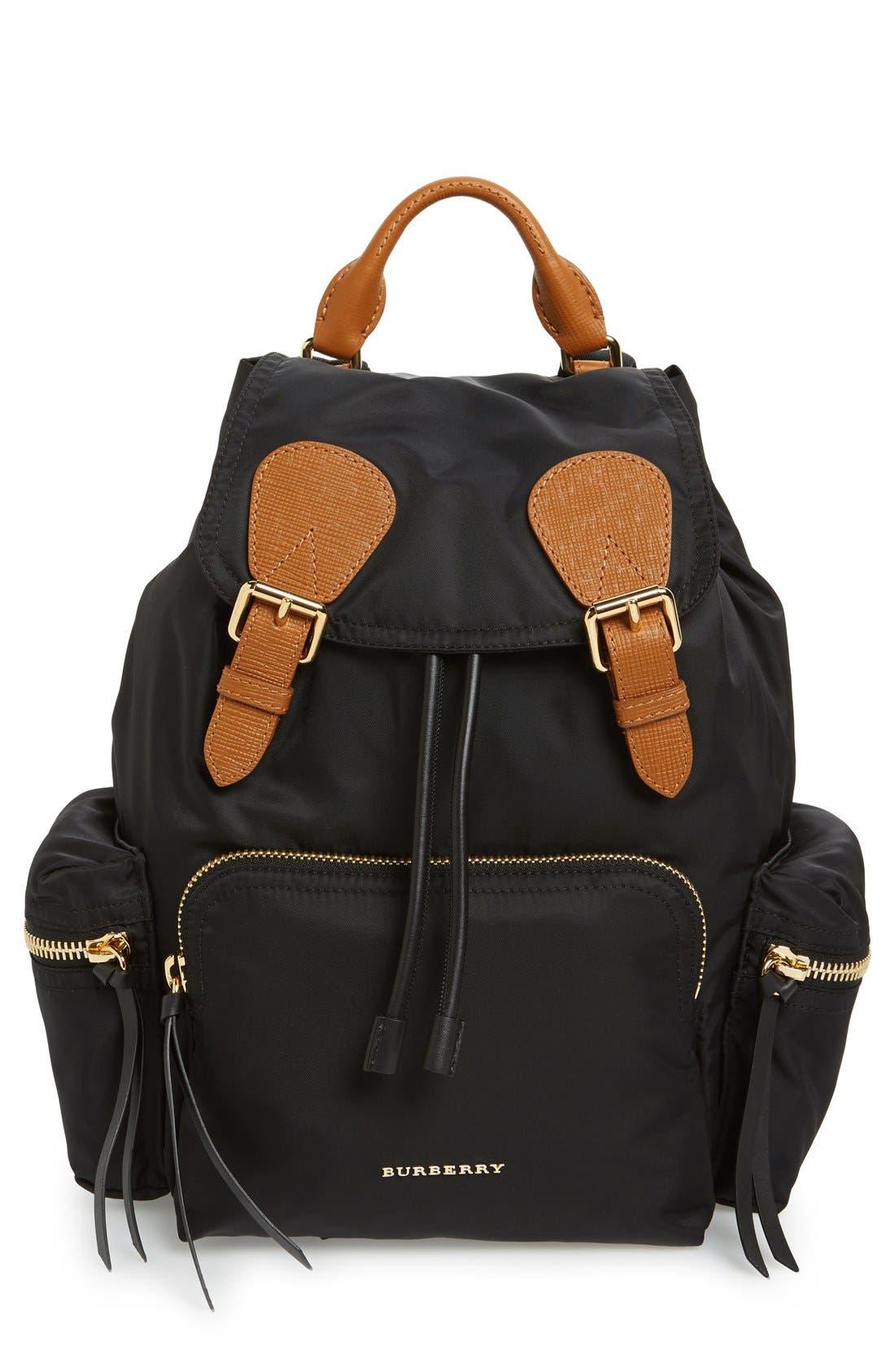 'Medium Runway Rucksack' Nylon Backpack,                             Main thumbnail 1, color,                             BLACK