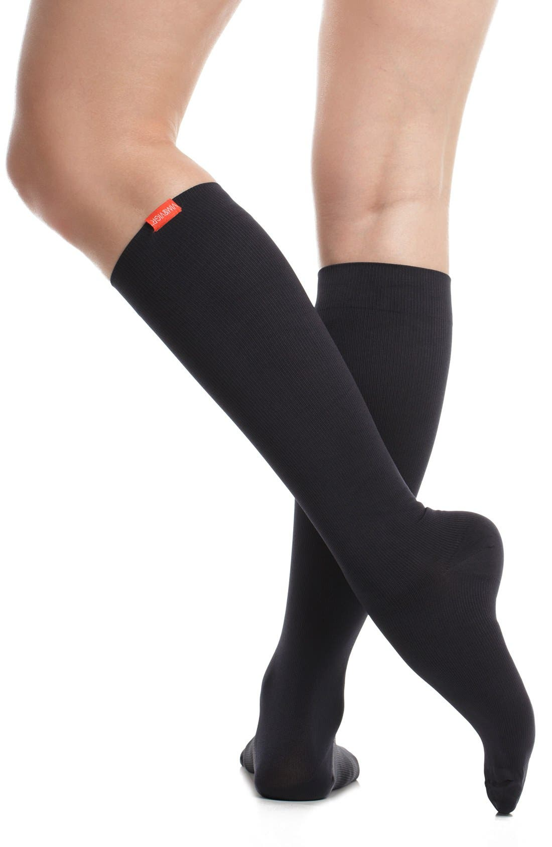 Solid Graduated Compression Trouser Socks,                             Alternate thumbnail 2, color,                             BLACK