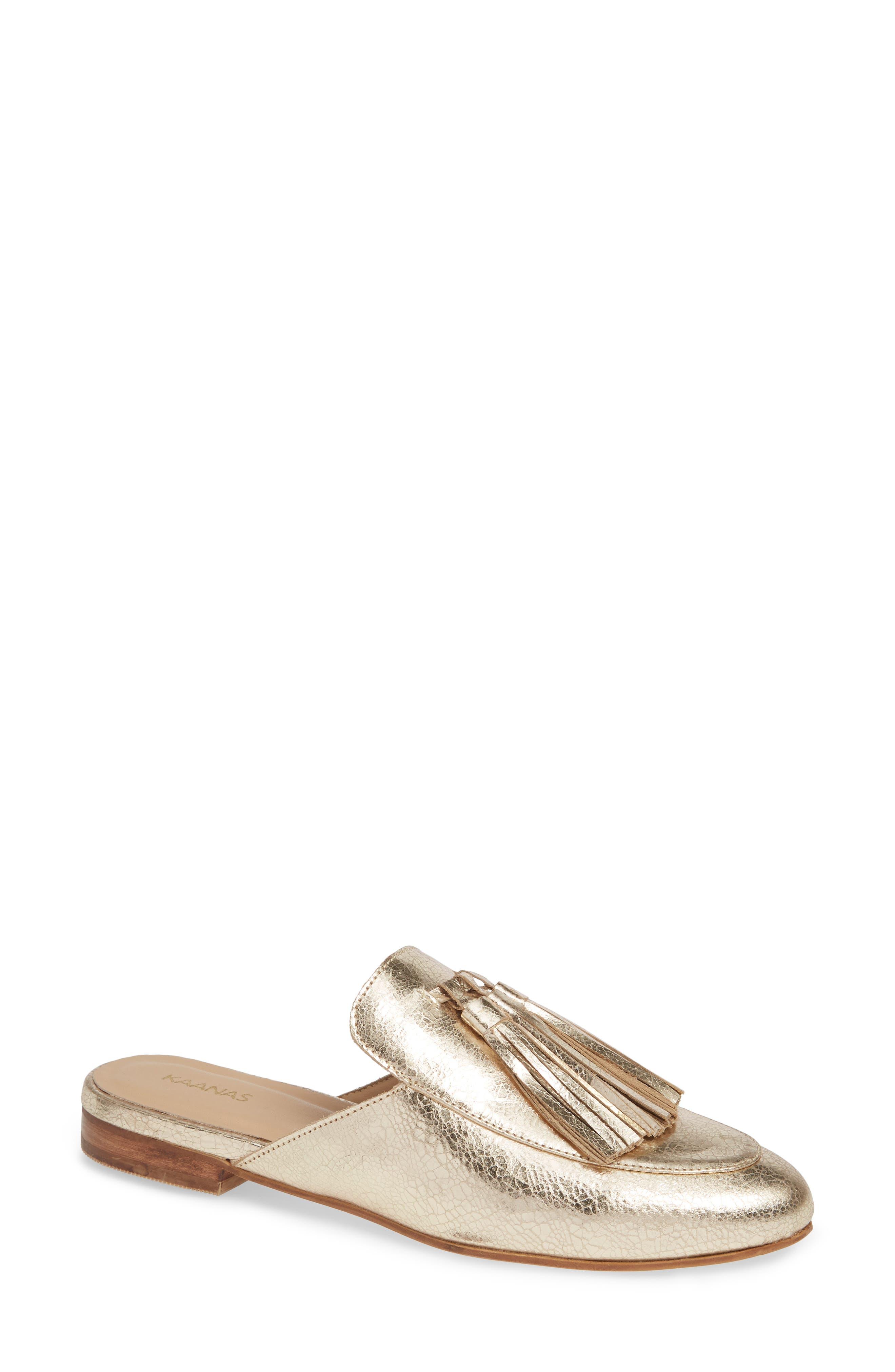 KAANAS Kingston Tasseled Mule in Gold Leather