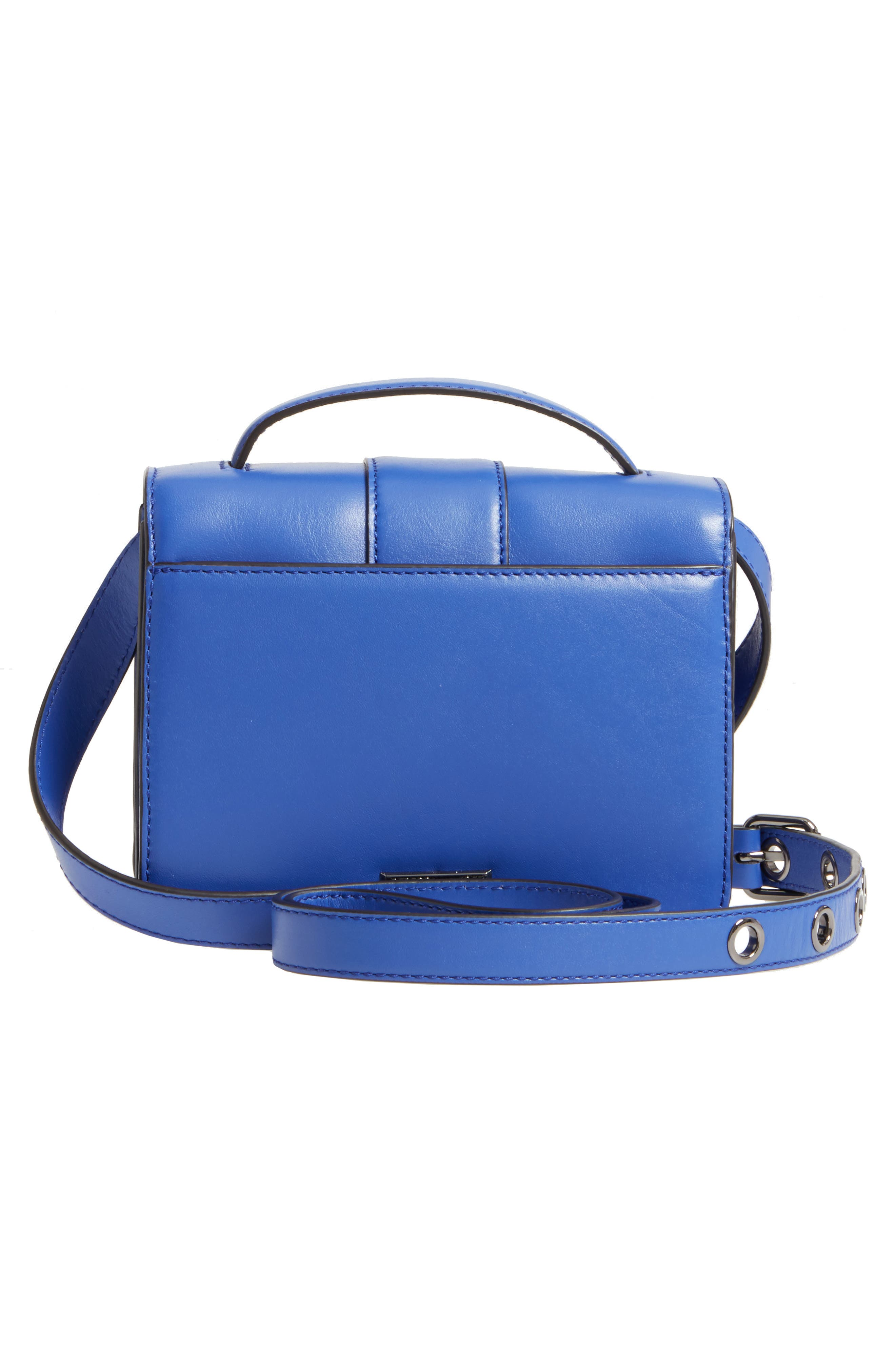 Small Hook Up Leather Top Handle Satchel,                             Alternate thumbnail 3, color,                             500