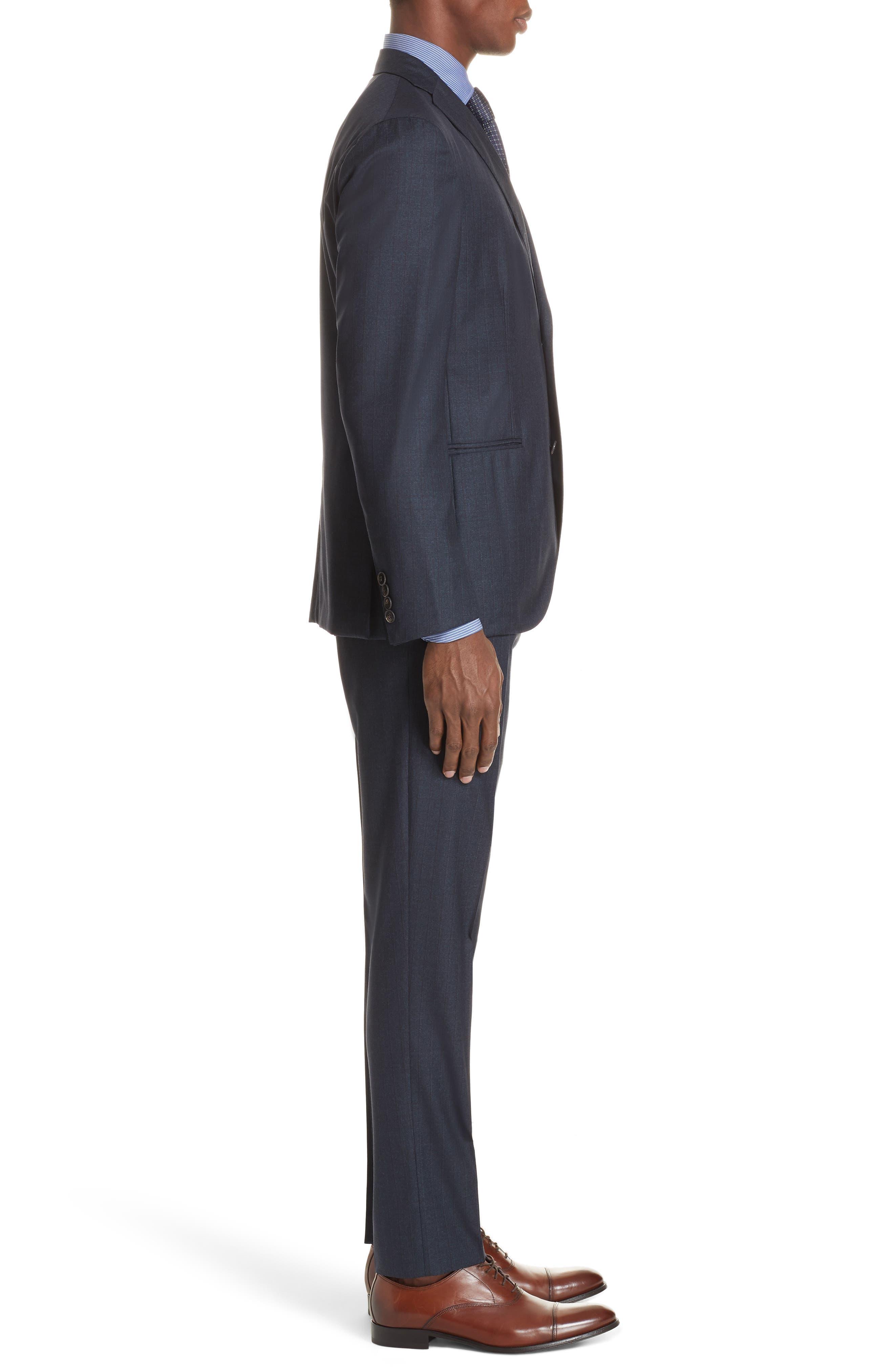 Trim Fit Stripe Wool Suit,                             Alternate thumbnail 3, color,                             NAVY