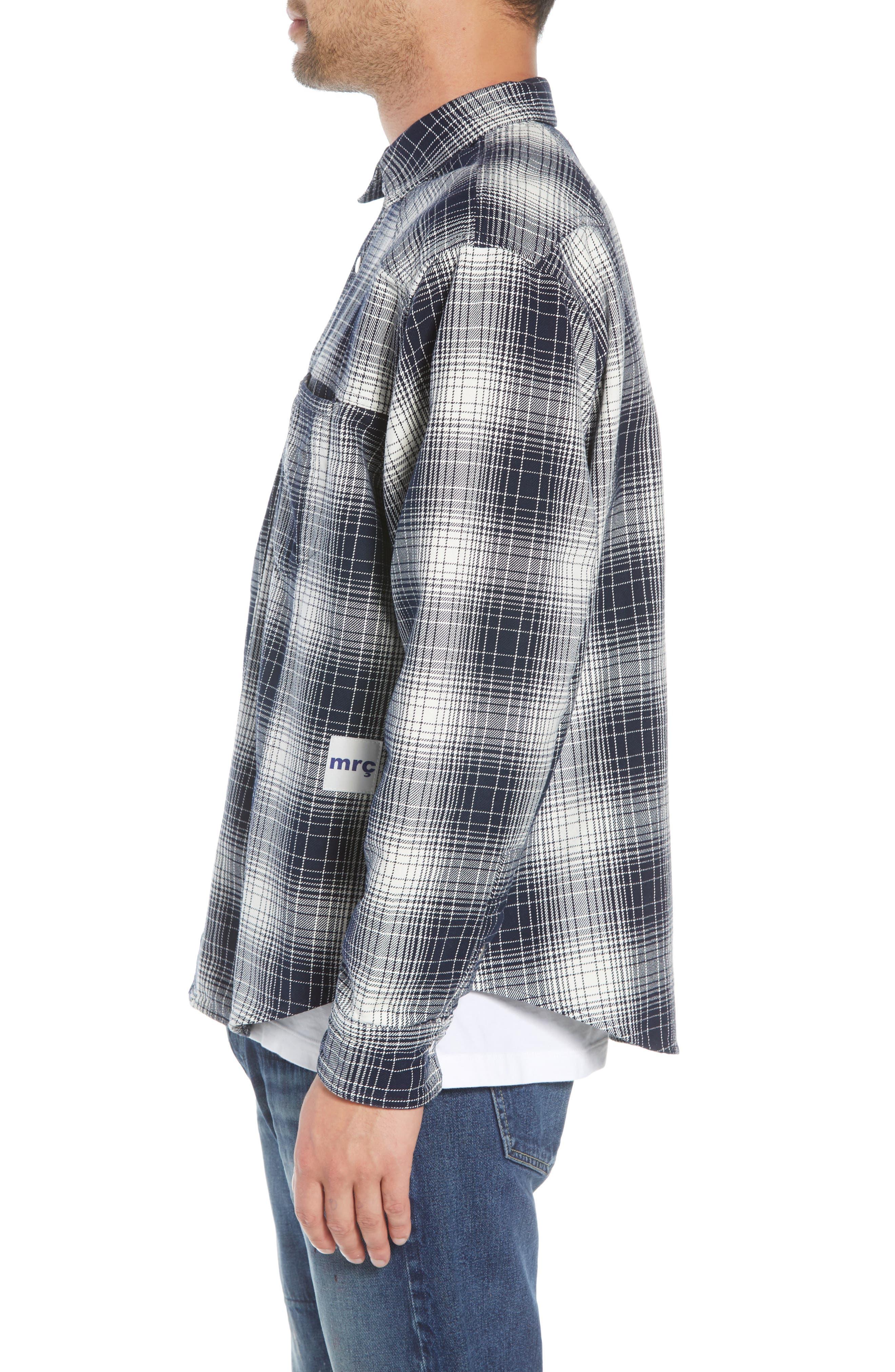 Western Flannel Slim Shirt,                             Alternate thumbnail 4, color,                             BLACK SHADOW