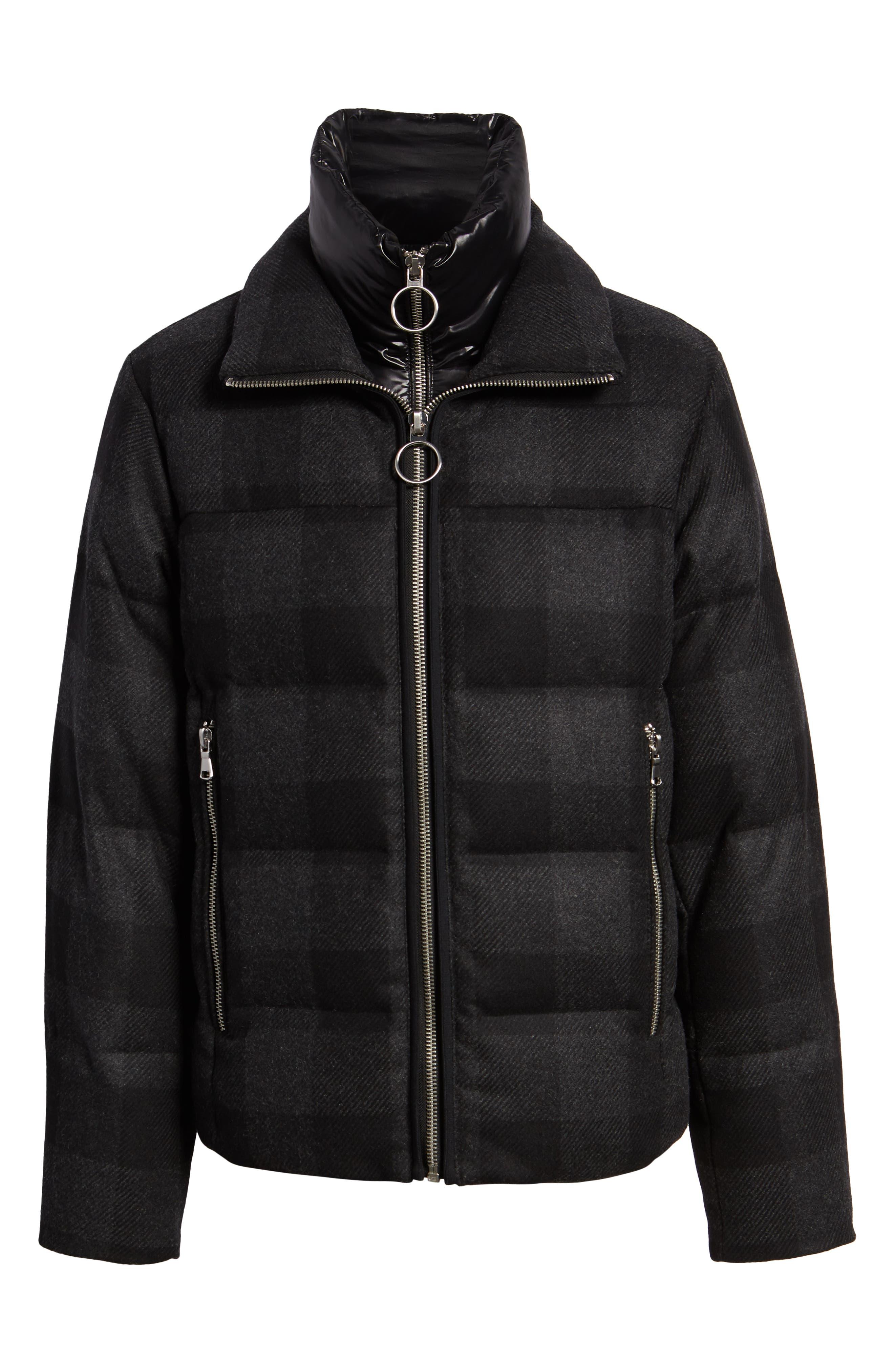 Crosby Plaid Wool Bib Puffer Jacket,                             Alternate thumbnail 5, color,                             CHARCOAL/ BLACK PLAID