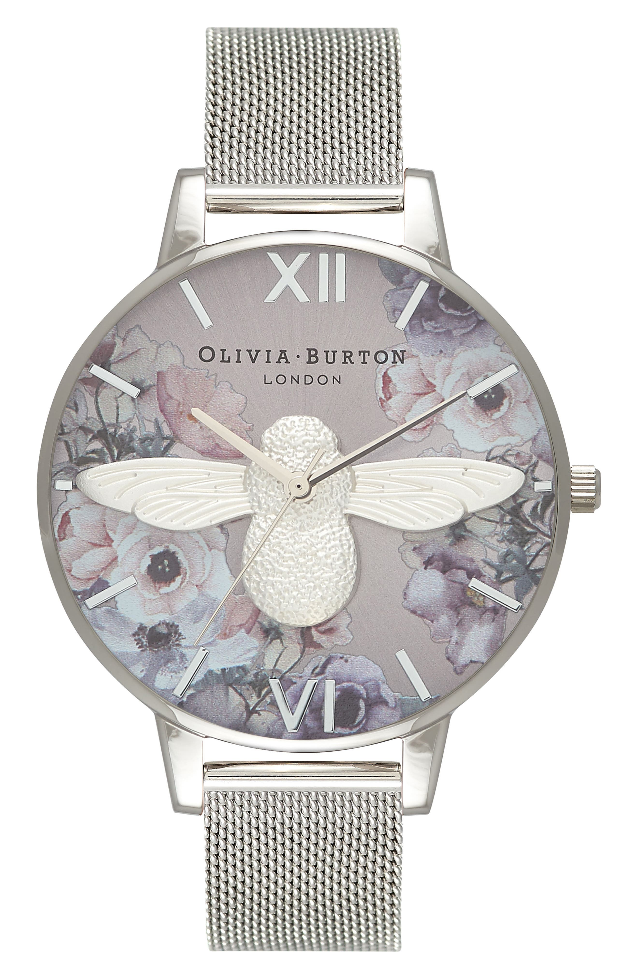 Watercolor Floral Mesh Strap Watch, 38mm,                         Main,                         color, SILVER/ BEE/ SILVER