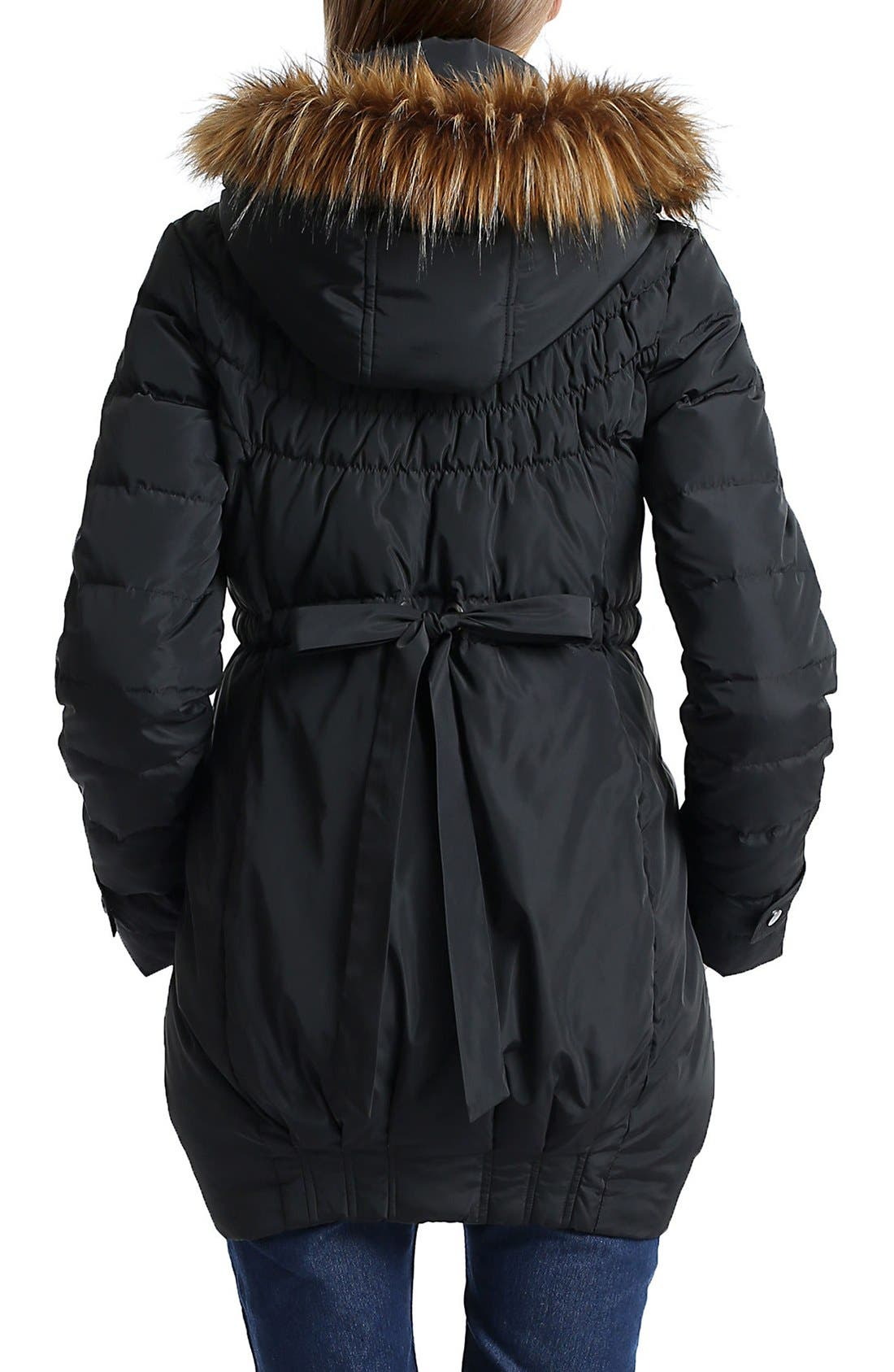 'Arlo' Water Resistant Down Maternity Parka with Baby Carrier Cover Inset,                             Alternate thumbnail 3, color,                             BLACK