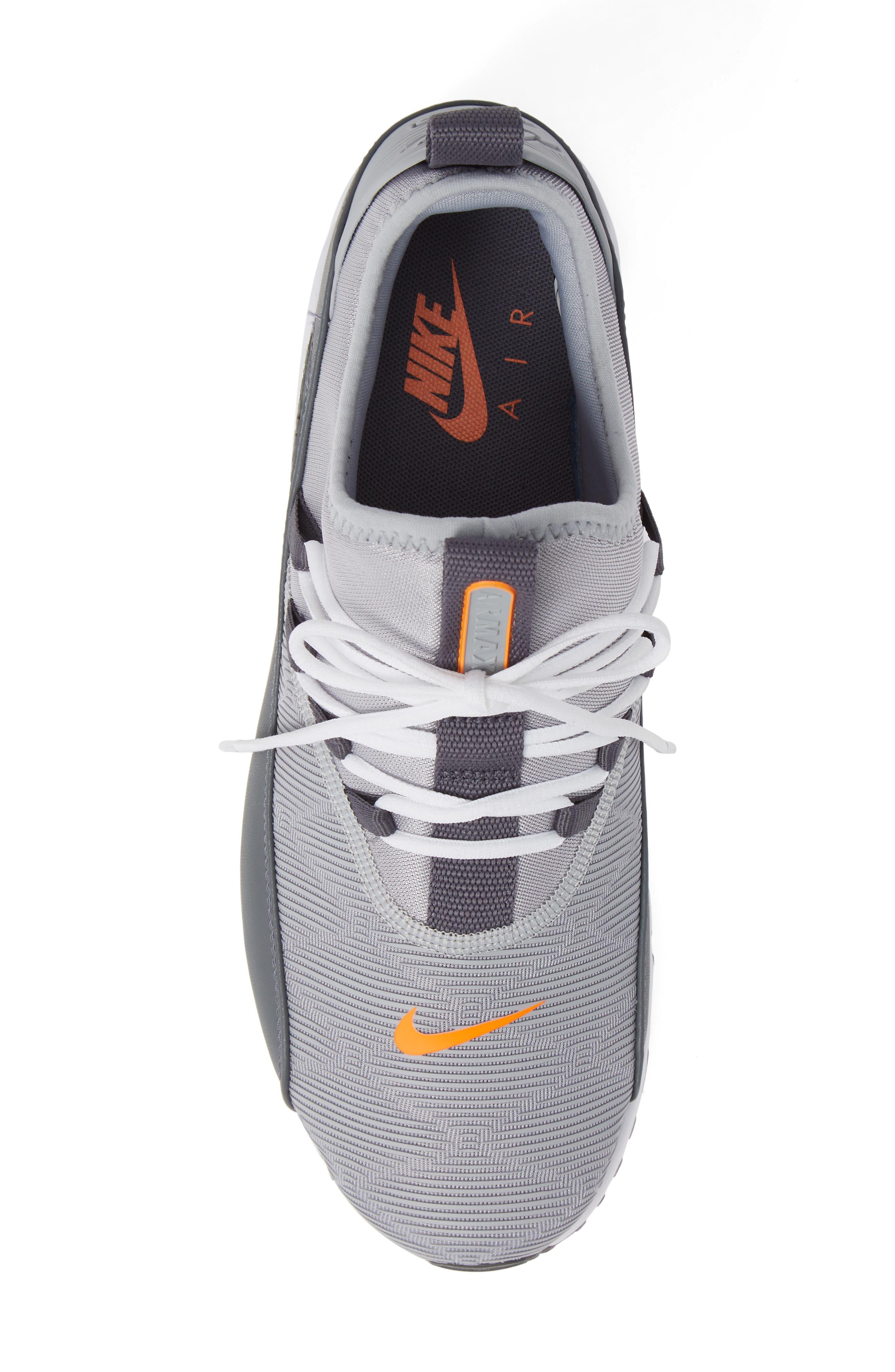Air Max 90 EZ Sneaker,                             Alternate thumbnail 5, color,                             WOLF GREY/ TOTAL ORANGE/ WHITE