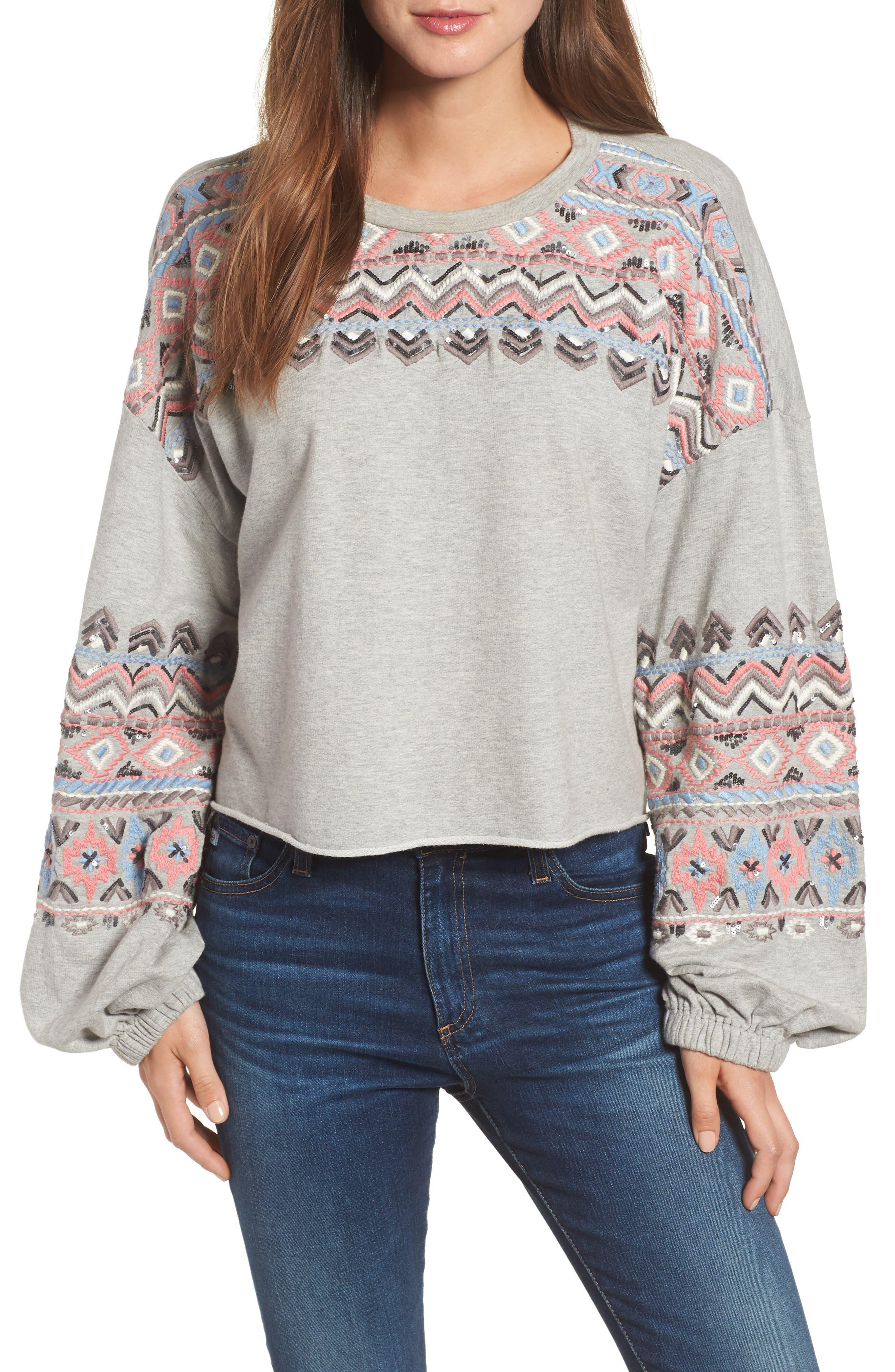 Embroidered Beaded Sweatshirt,                             Main thumbnail 1, color,                             GREY
