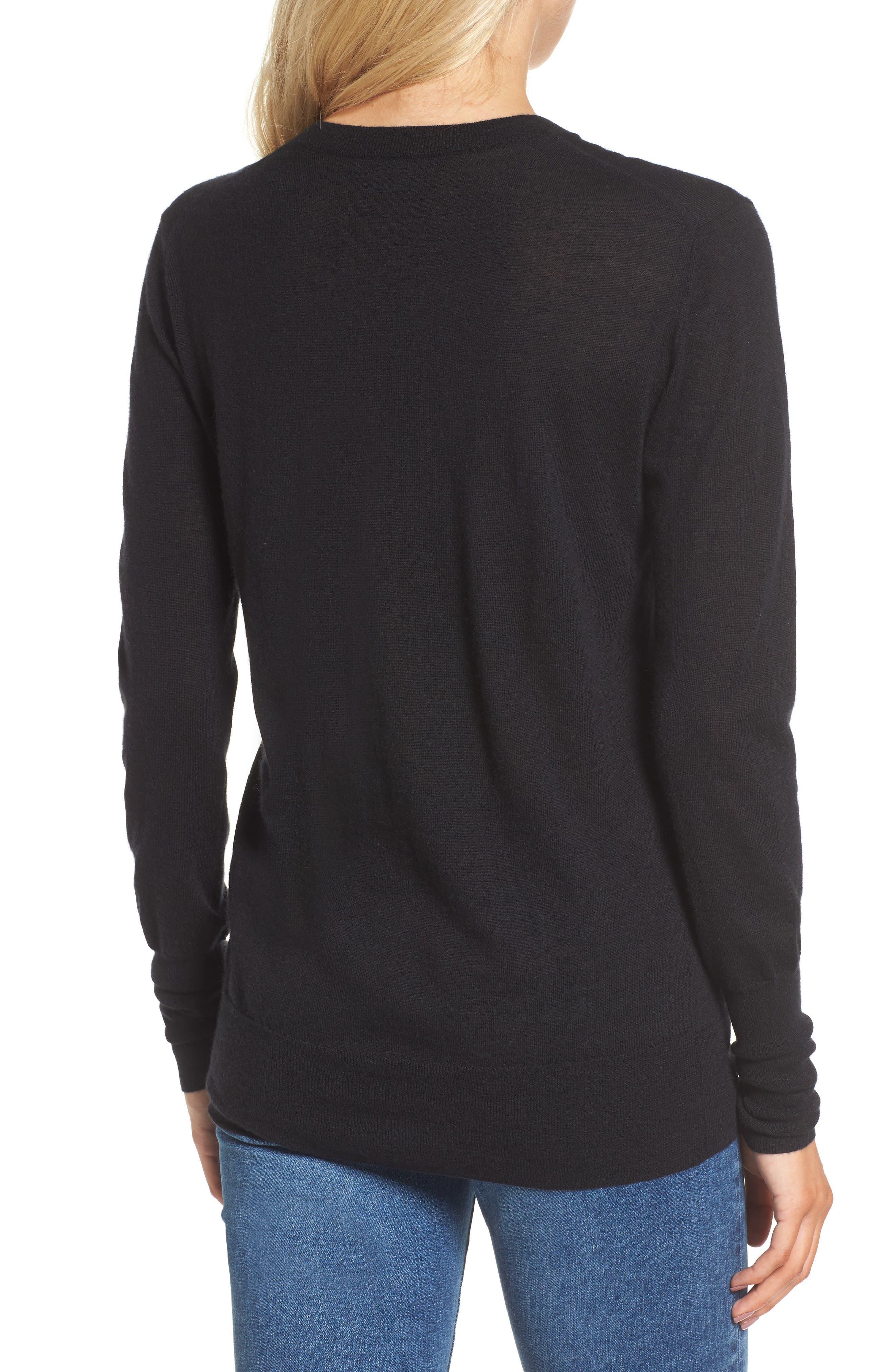 Uma V-Neck Cashmere Sweater,                             Alternate thumbnail 2, color,                             001