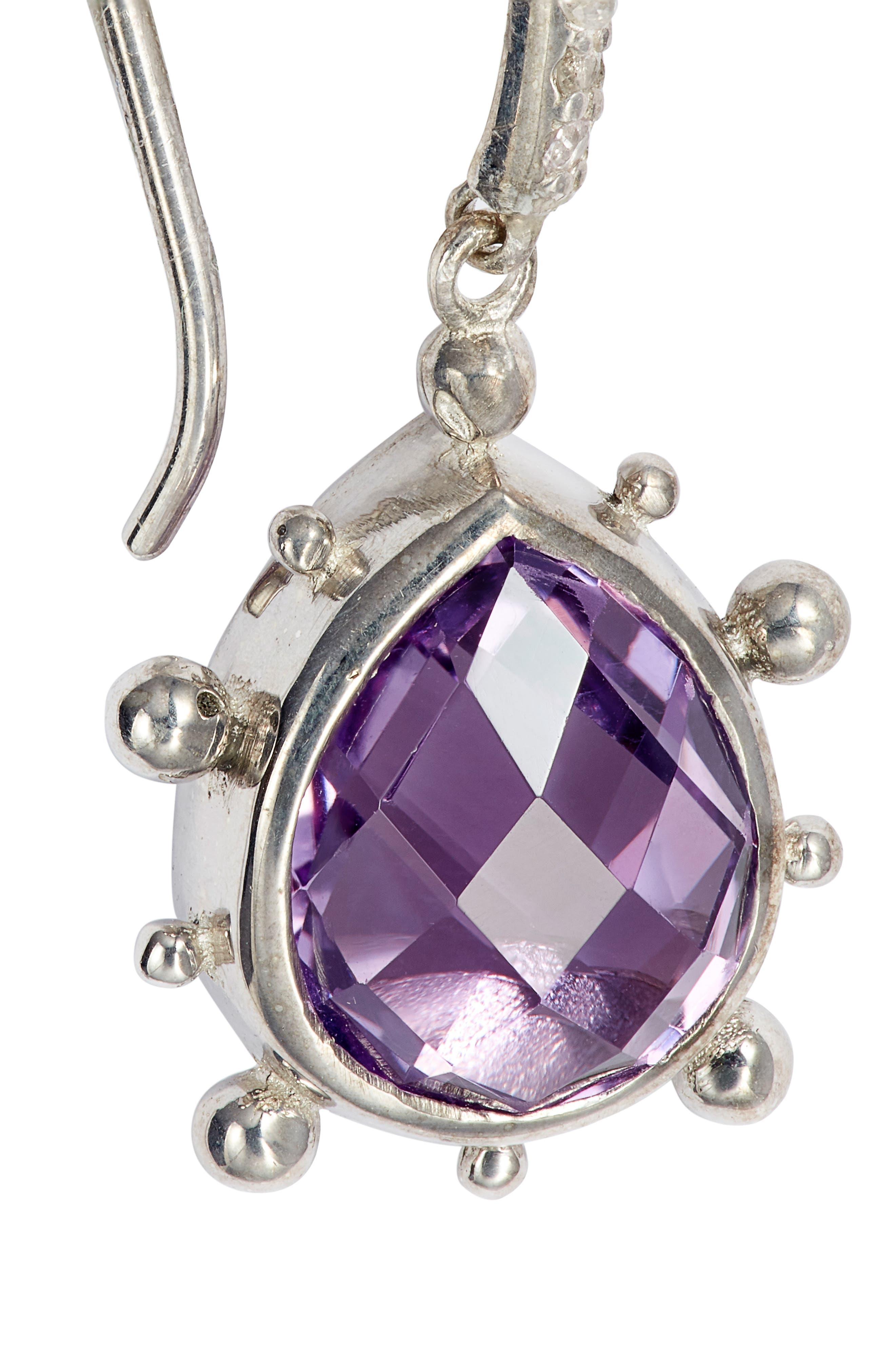 ANZIE,                             Dew Drop Purple Amethyst Earrings,                             Alternate thumbnail 5, color,                             SILVER/ PURPLE