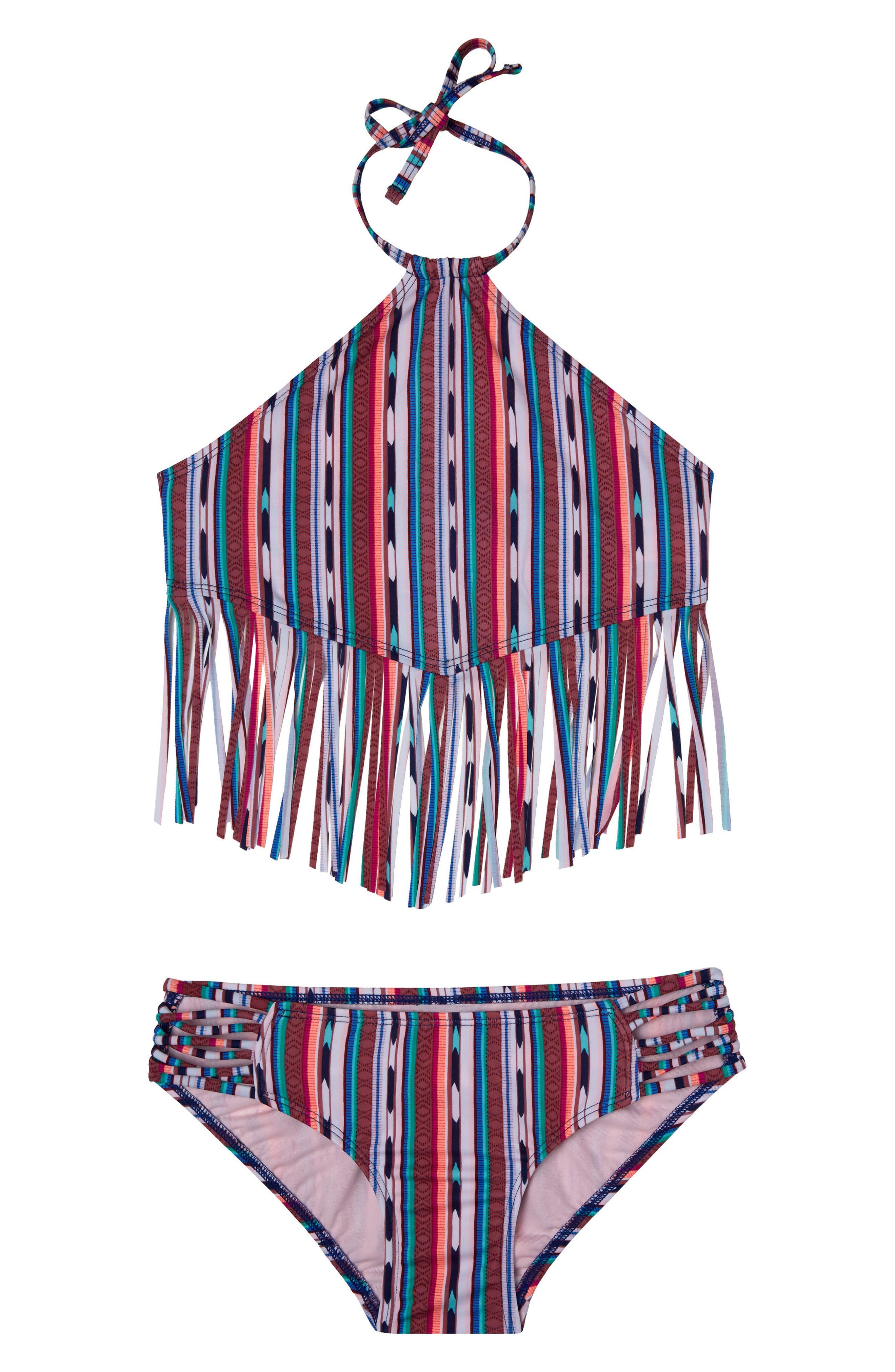 Desert Stripe Two-Piece Swimsuit,                             Main thumbnail 1, color,                             NAVY