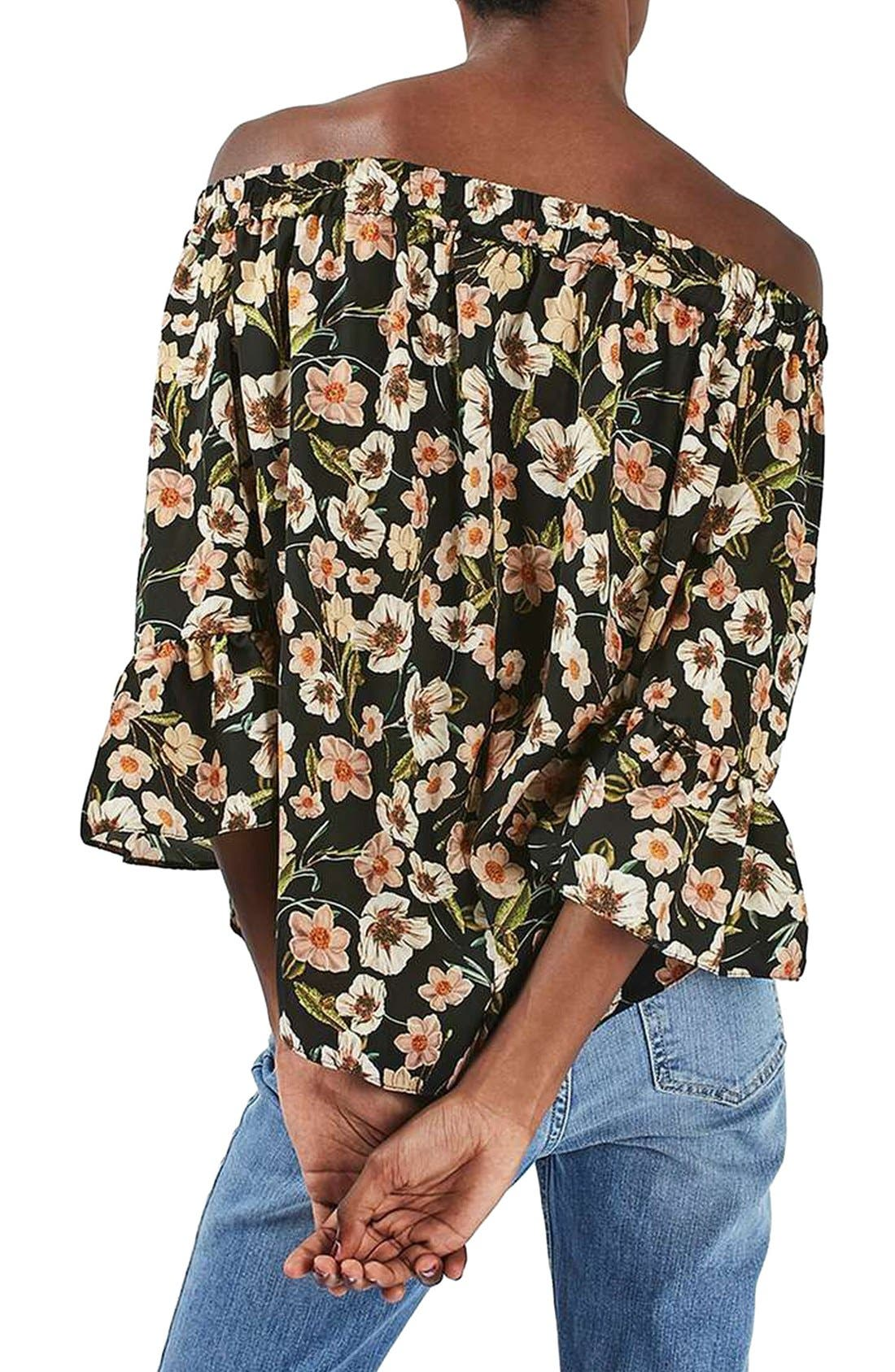 Floral Off the Shoulder Top,                             Alternate thumbnail 2, color,                             001
