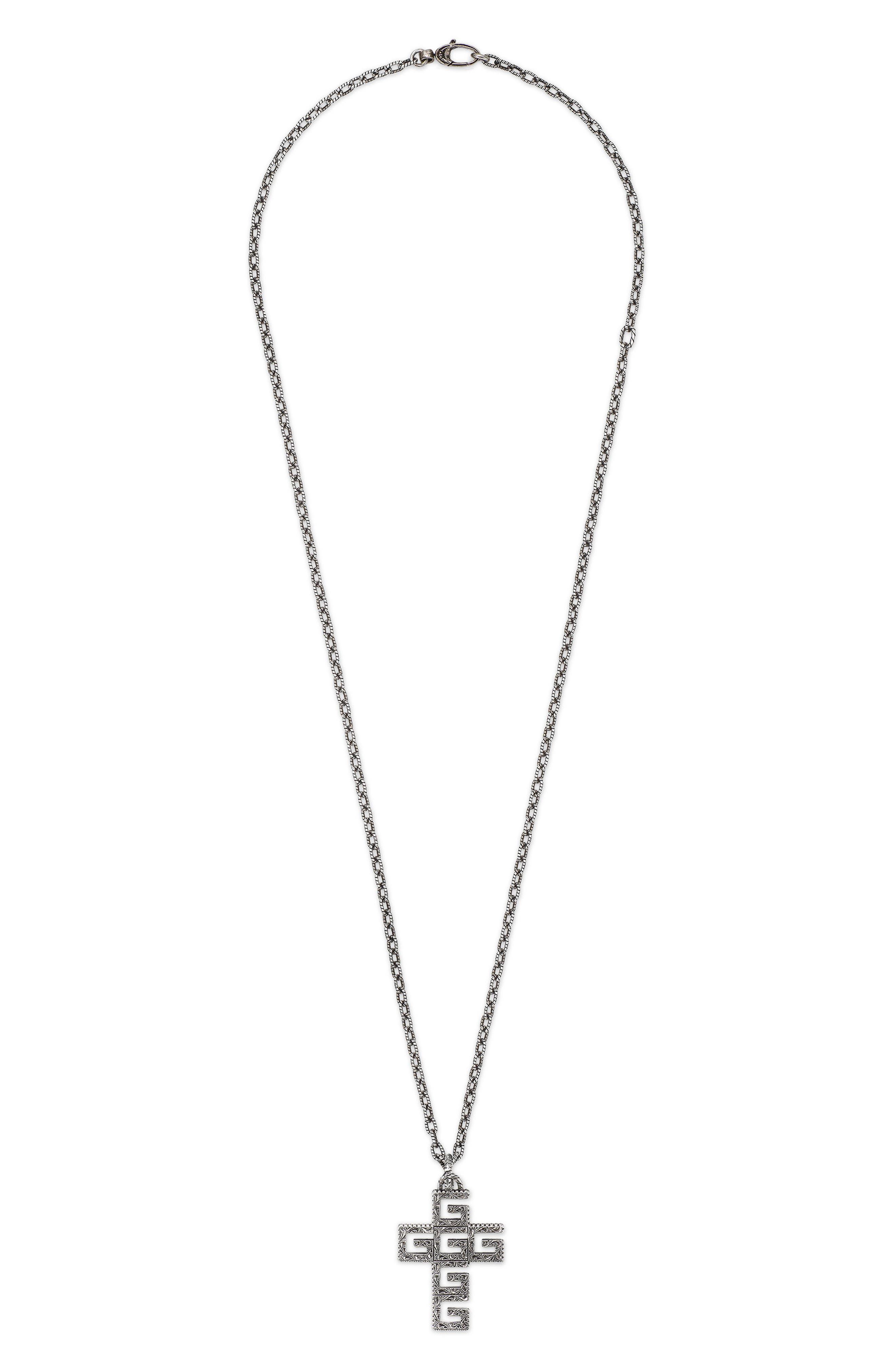 G-Cube Cross Pendant Necklace, Main, color, 040