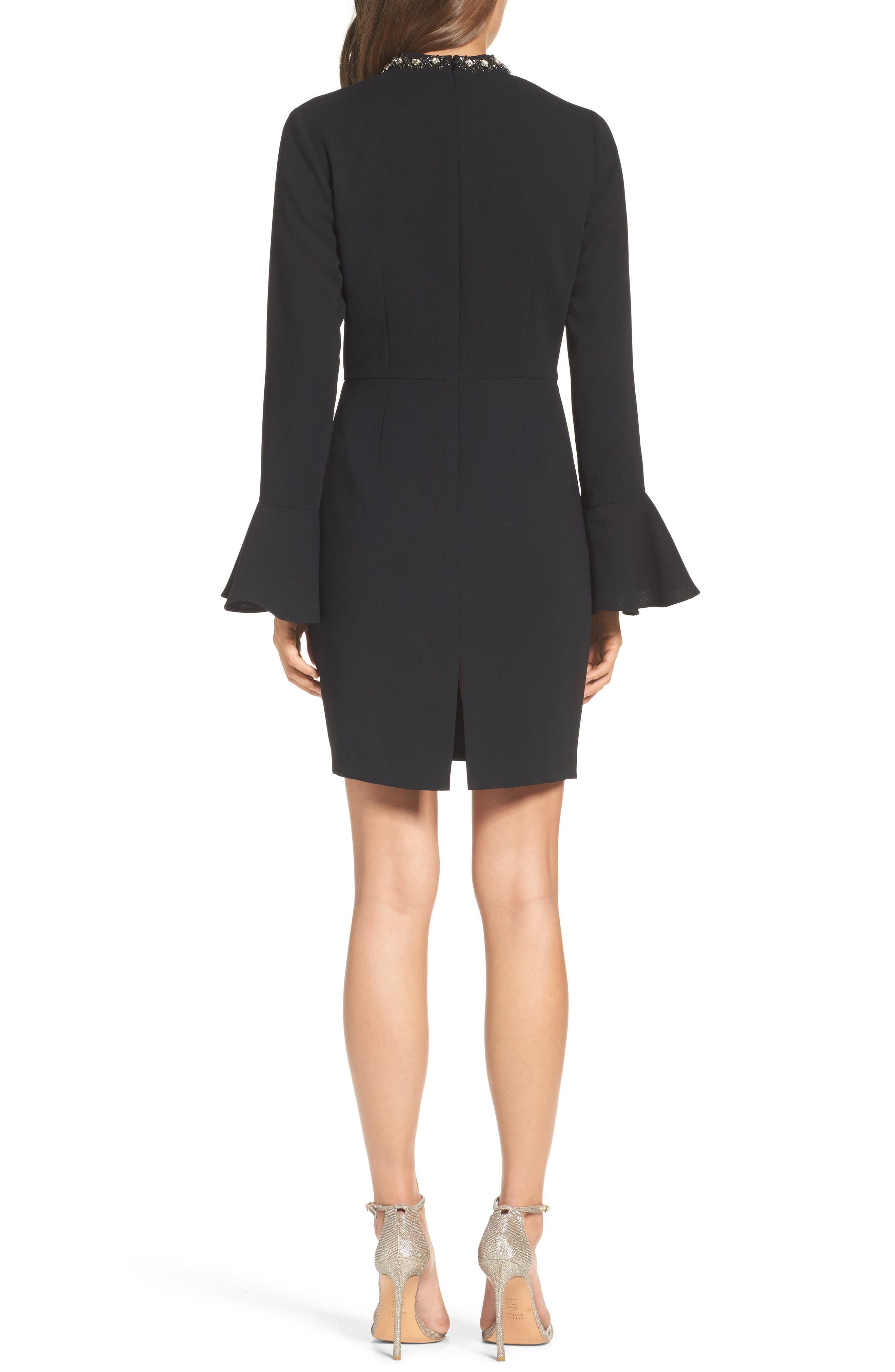 Crystal Choker Bell Sleeve Sheath Dress,                             Alternate thumbnail 3, color,