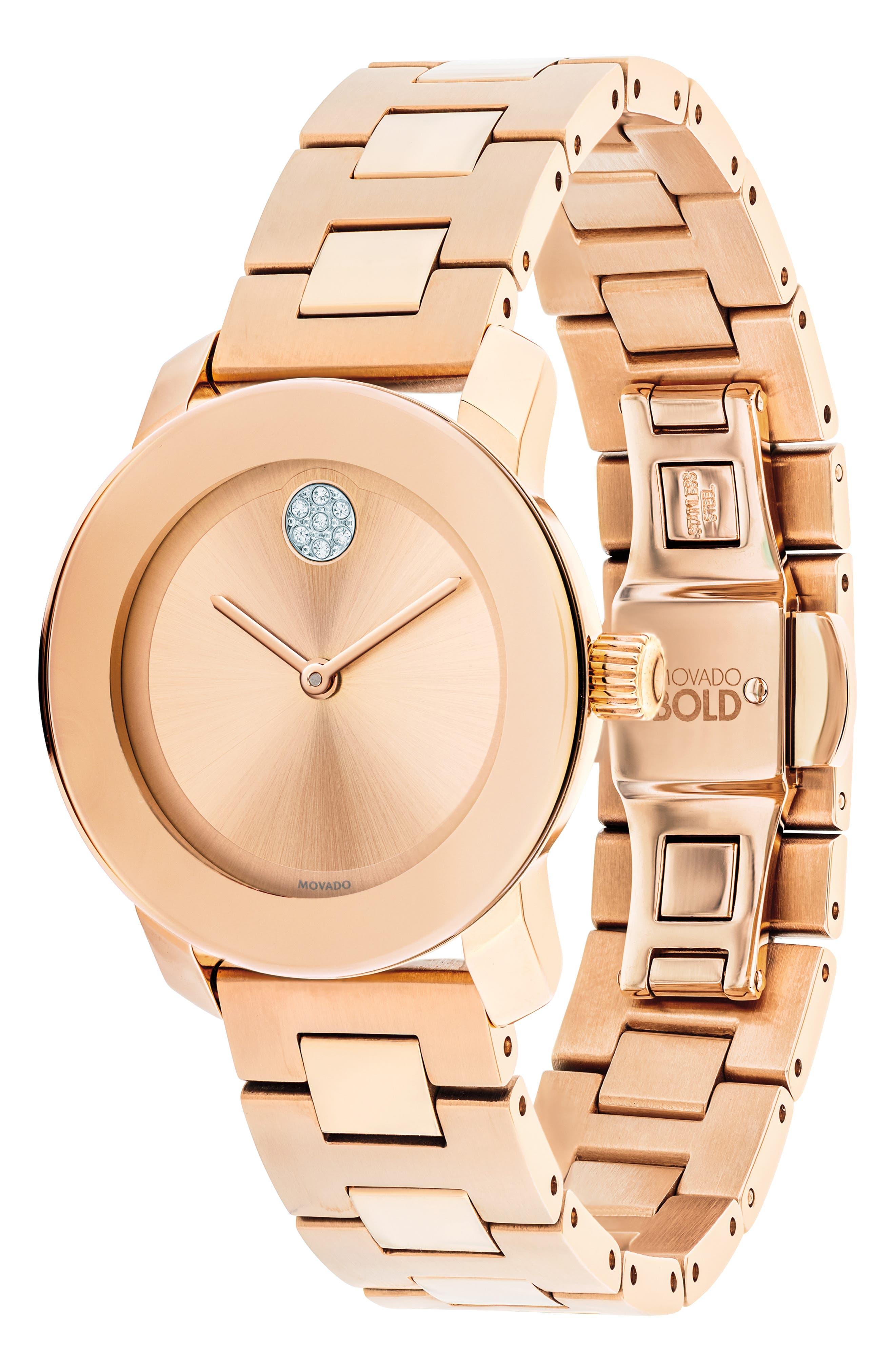 Bold Iconic Bracelet Watch, 30mm,                             Alternate thumbnail 3, color,                             ROSE GOLD