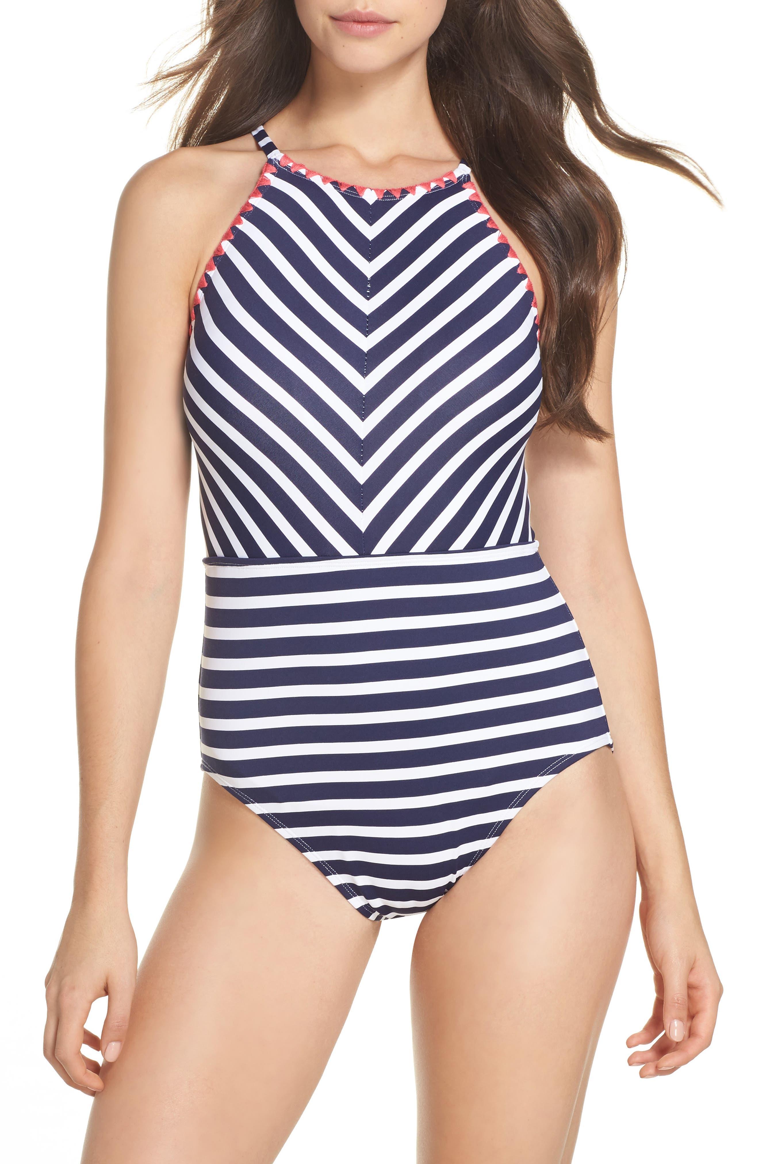 Breton Stripe One-Piece Swimsuit,                             Main thumbnail 1, color,                             400