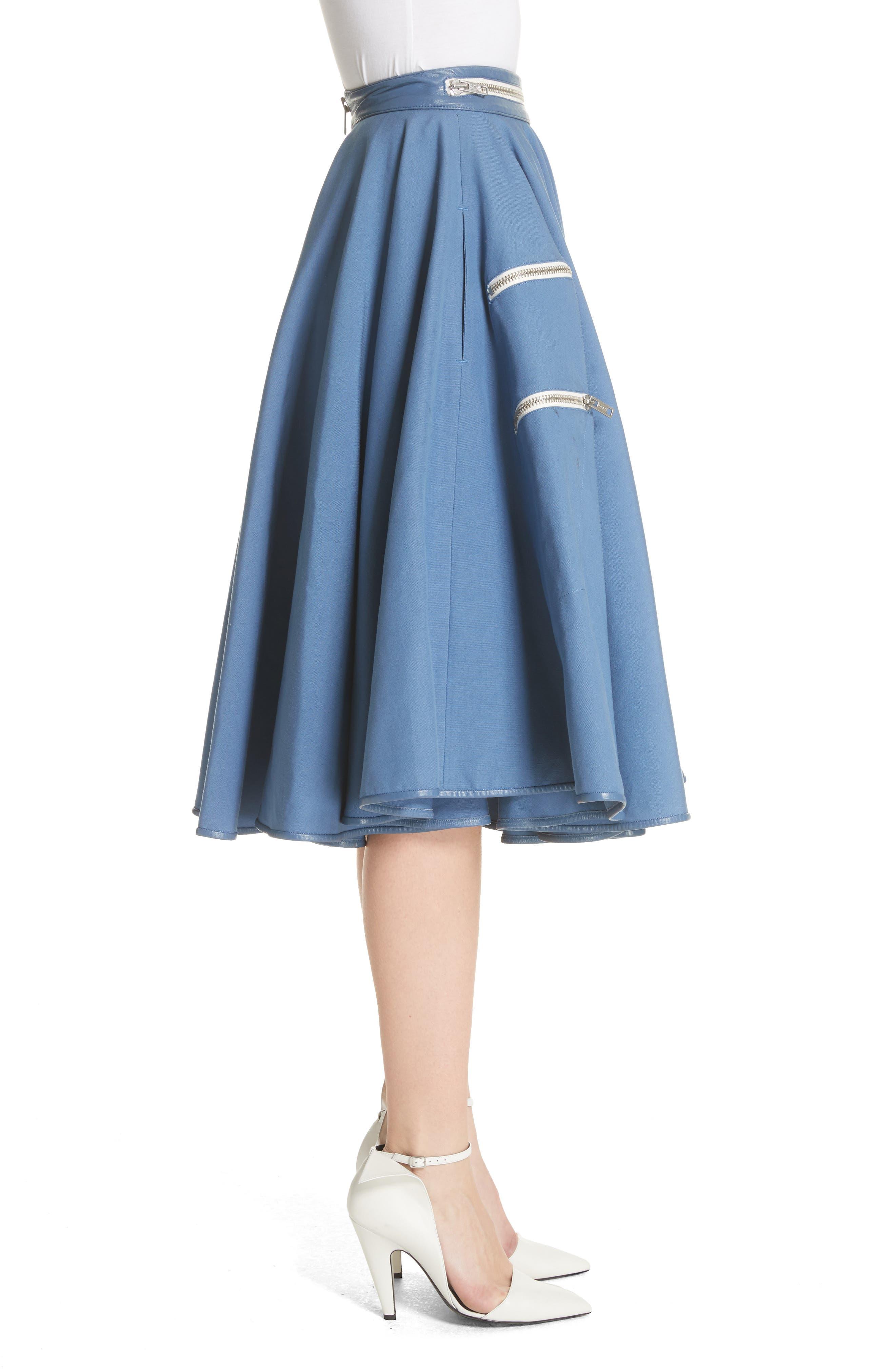 Zip Detail Circle Skirt,                             Alternate thumbnail 3, color,                             422
