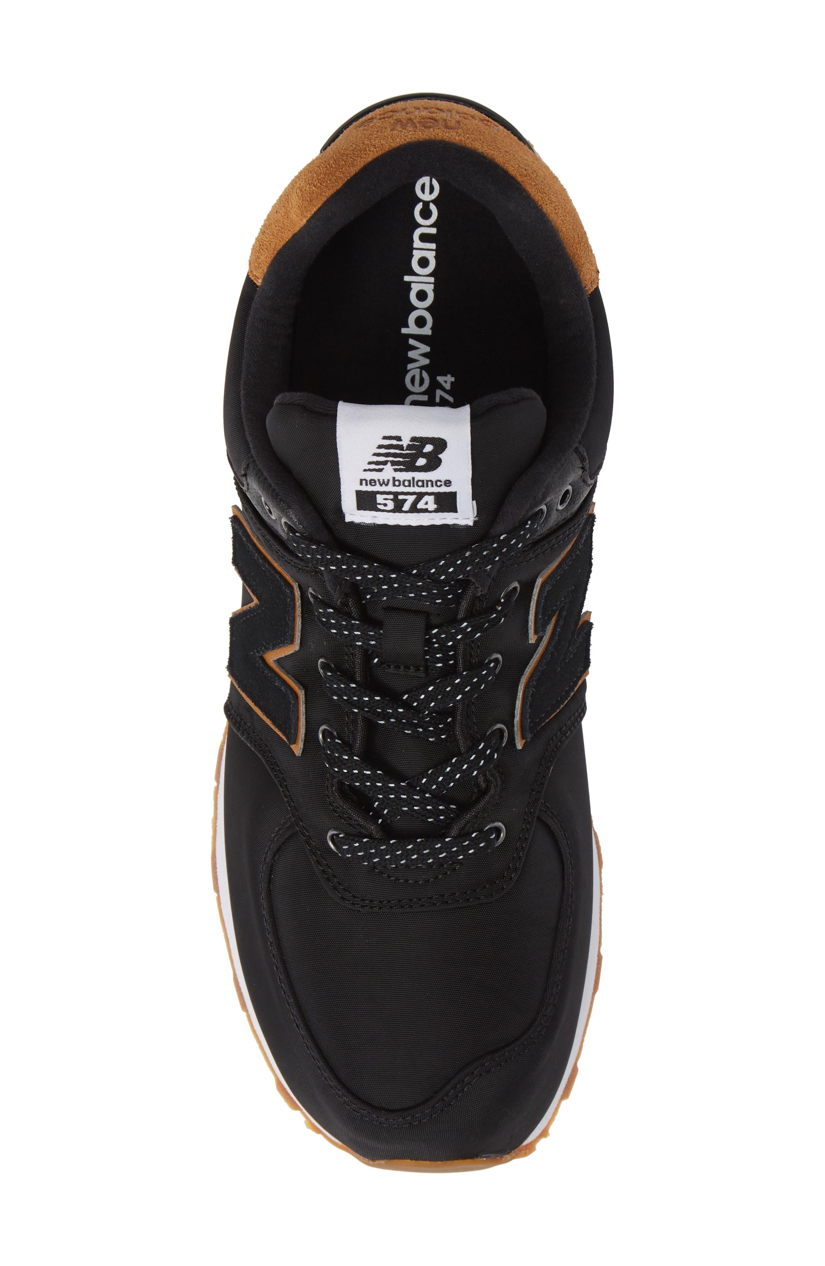 574 Essentials Sneaker,                             Alternate thumbnail 5, color,                             BLACK/ WHITE