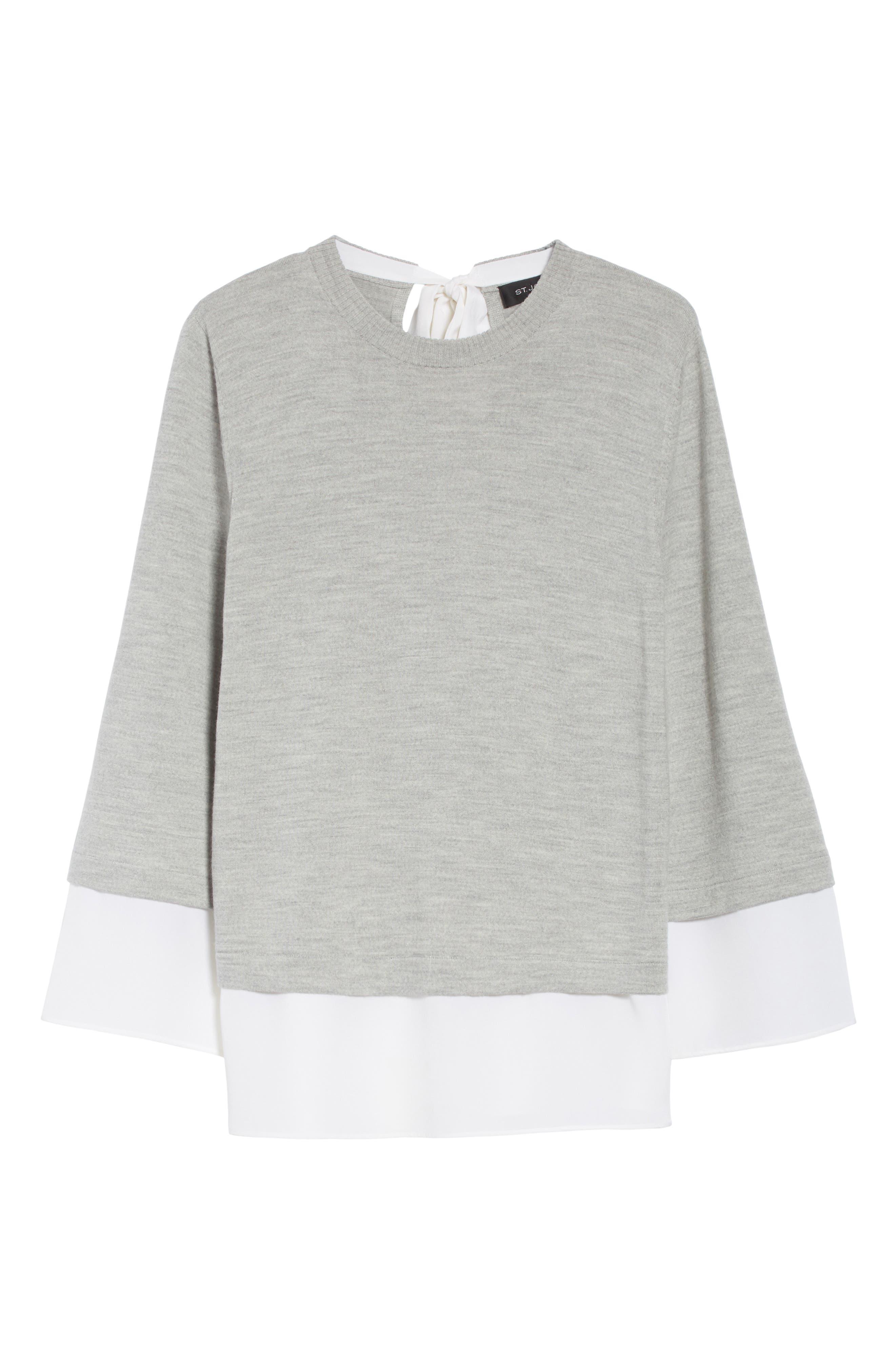 Layered Hem Wool Sweater,                             Alternate thumbnail 6, color,                             050