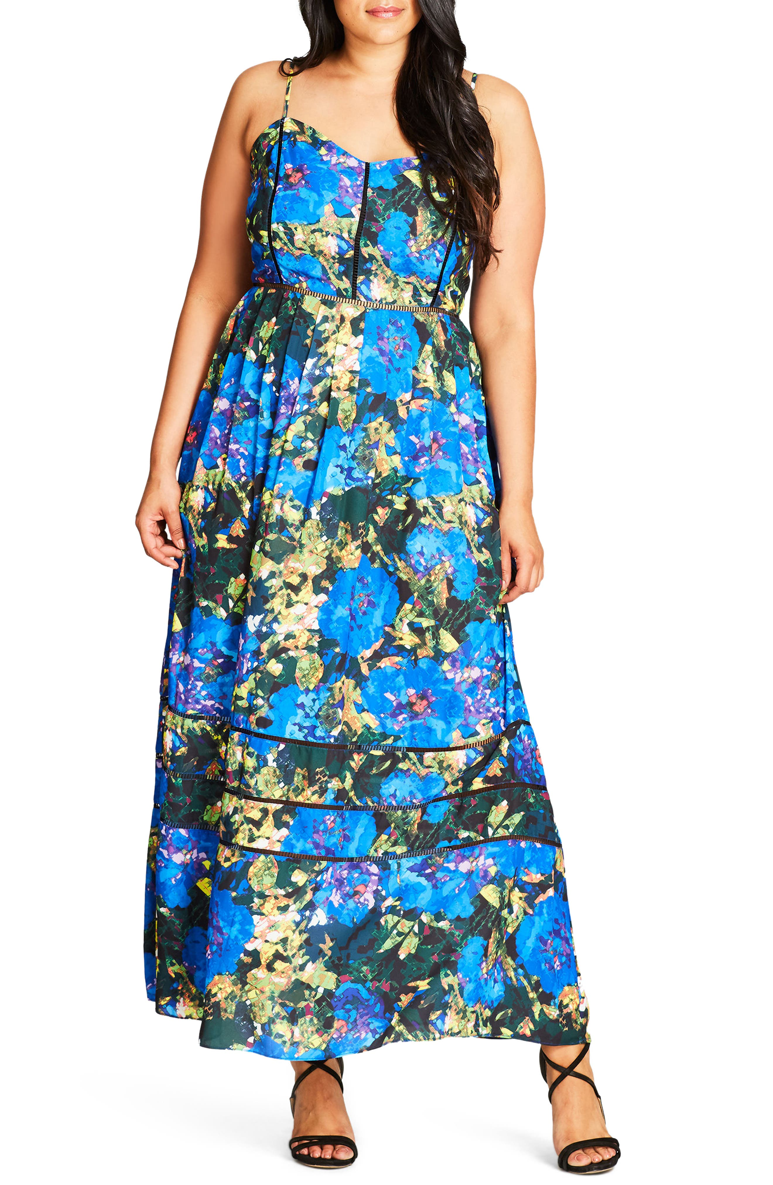 Stain Glass Print Maxi Dress,                         Main,                         color, 320