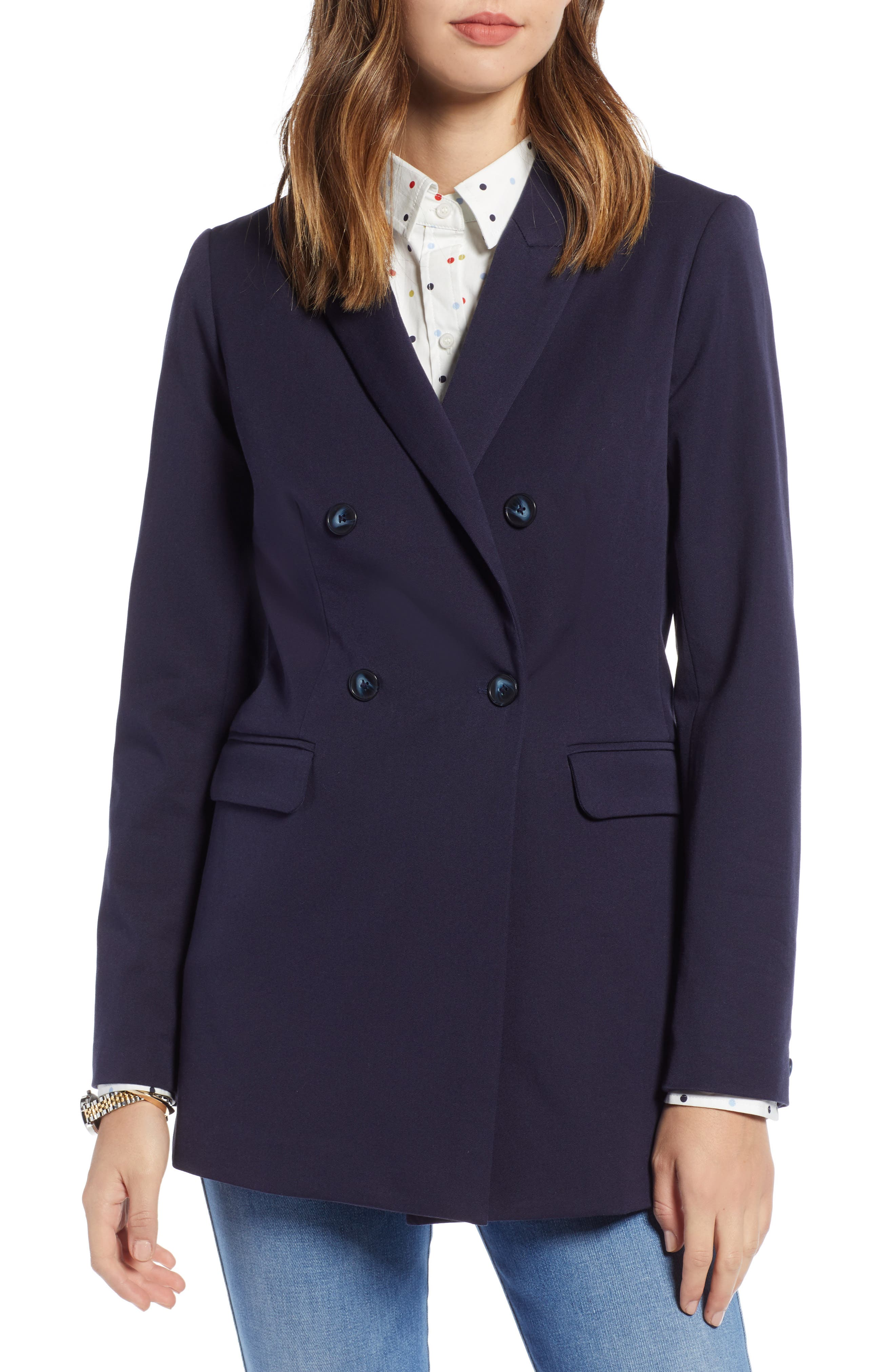 1901,                             Double Breasted Blazer,                             Alternate thumbnail 4, color,                             NAVY NIGHT