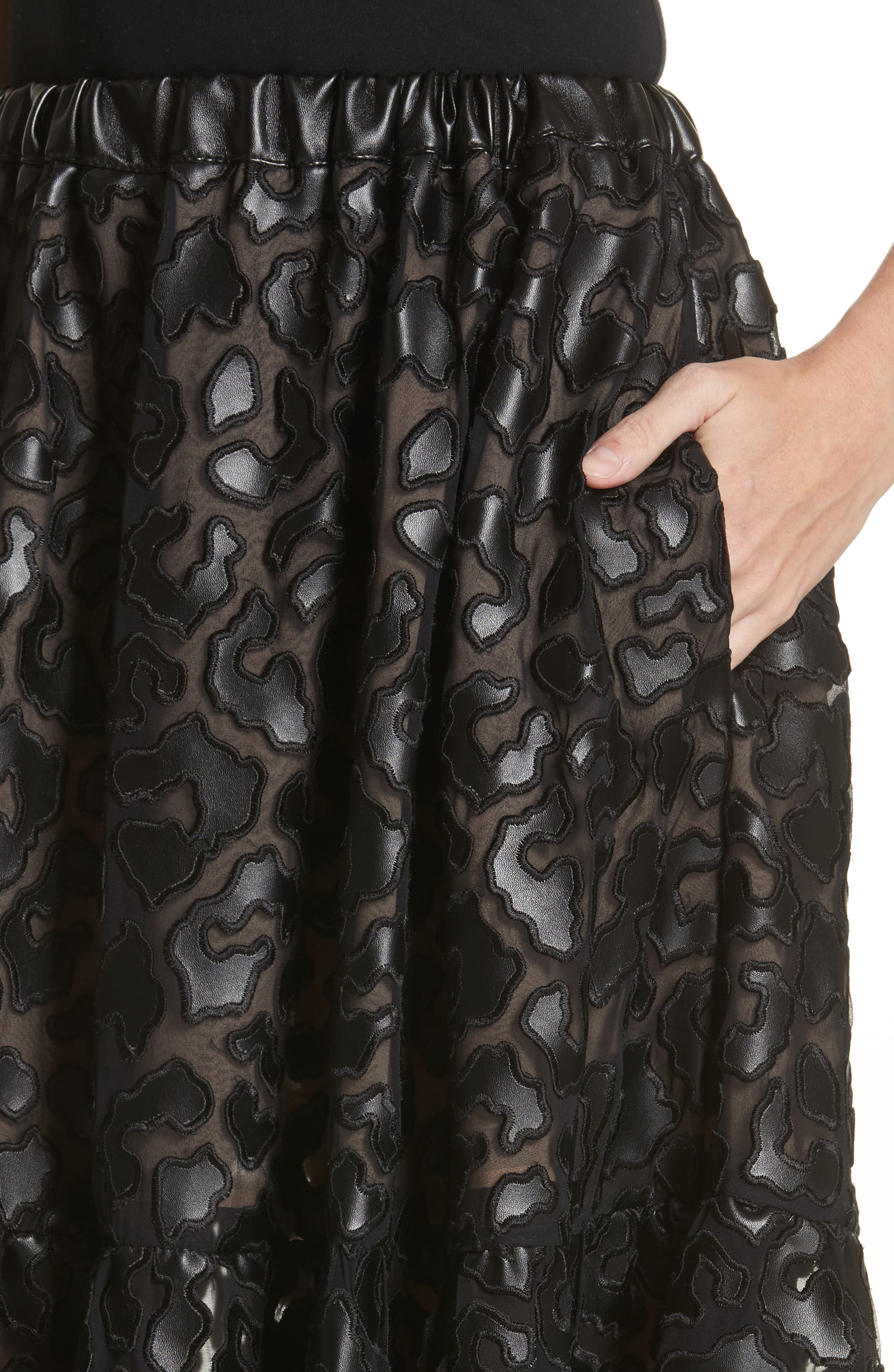 Faux Leather Leopard Print Skirt,                             Alternate thumbnail 4, color,