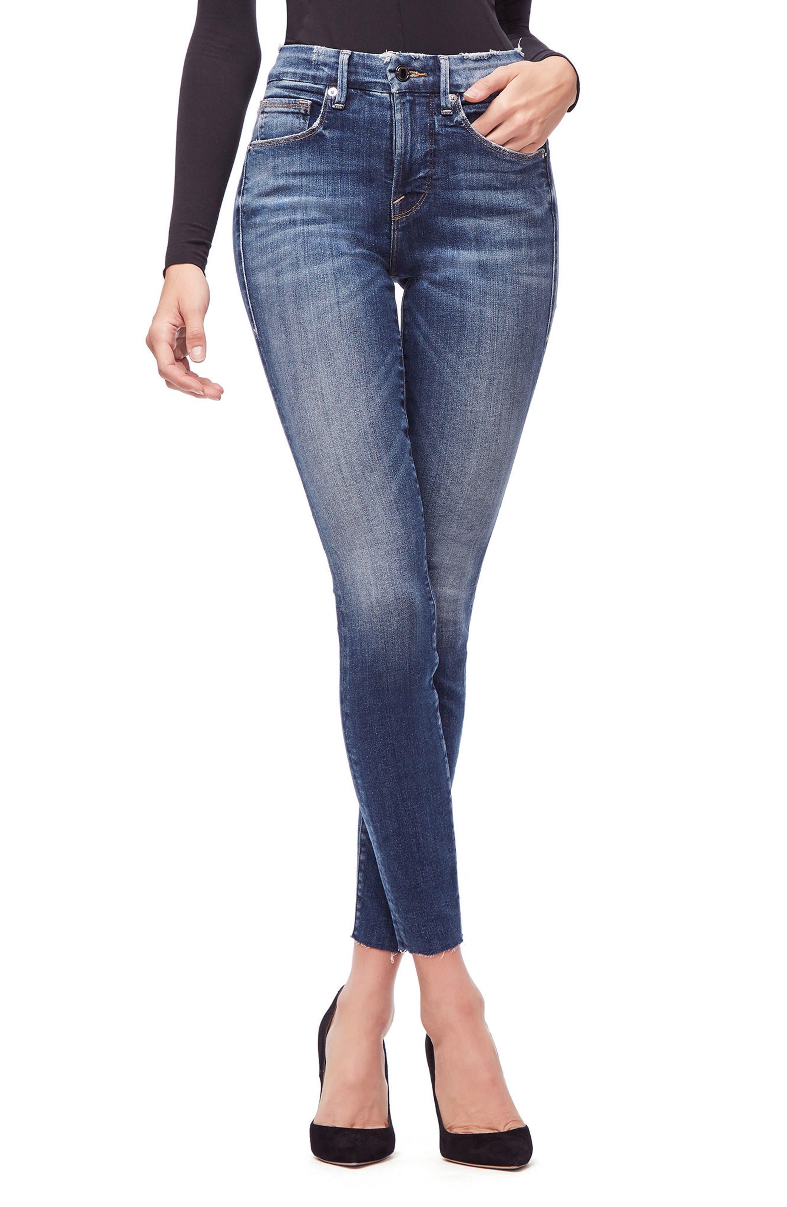 Good Legs High Waist Raw Hem Skinny Jeans,                             Alternate thumbnail 8, color,                             BLUE 182
