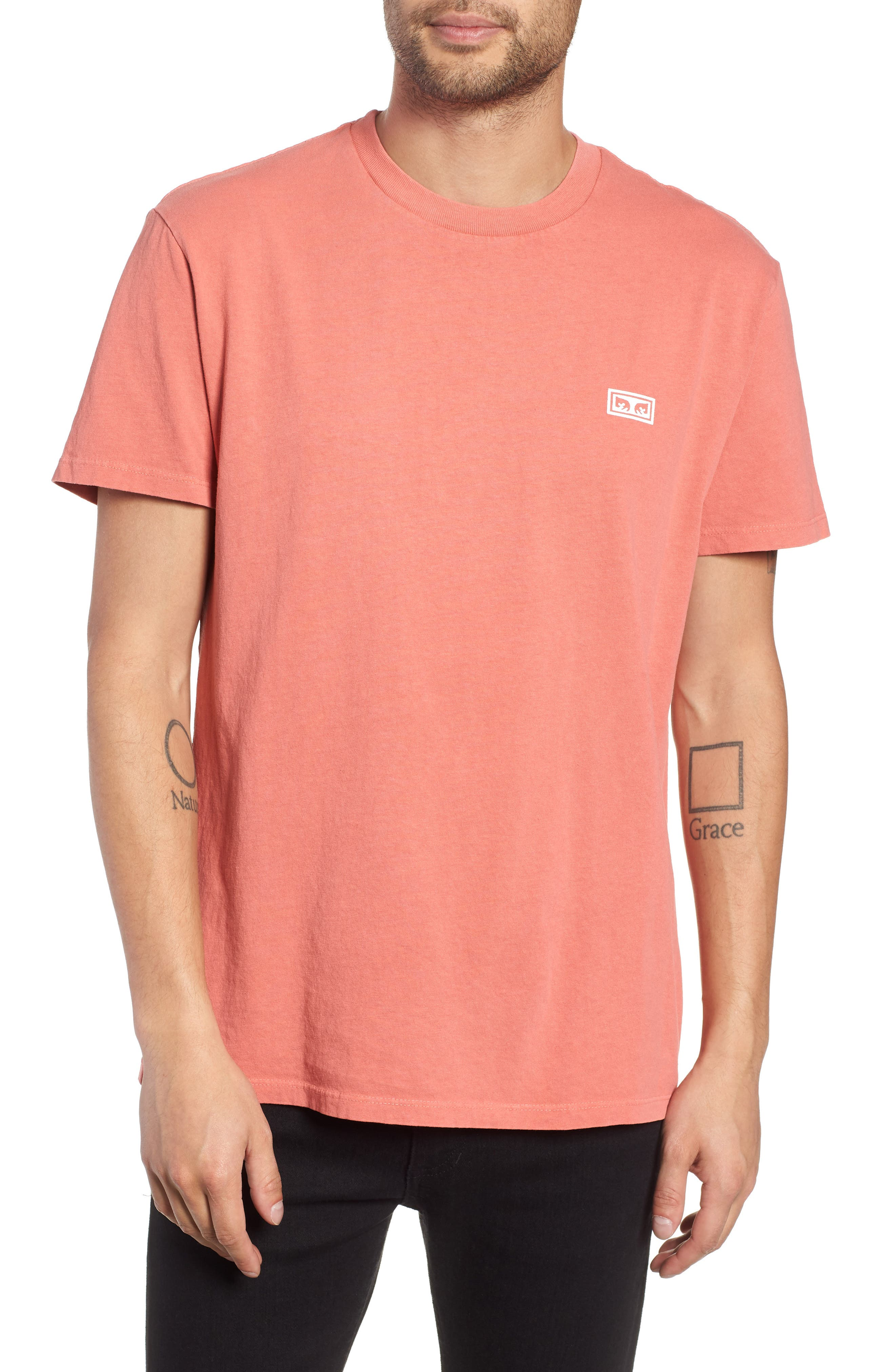 OBEY Jumble Lo-Fi Pigment T-Shirt in Dusty Dark Rose