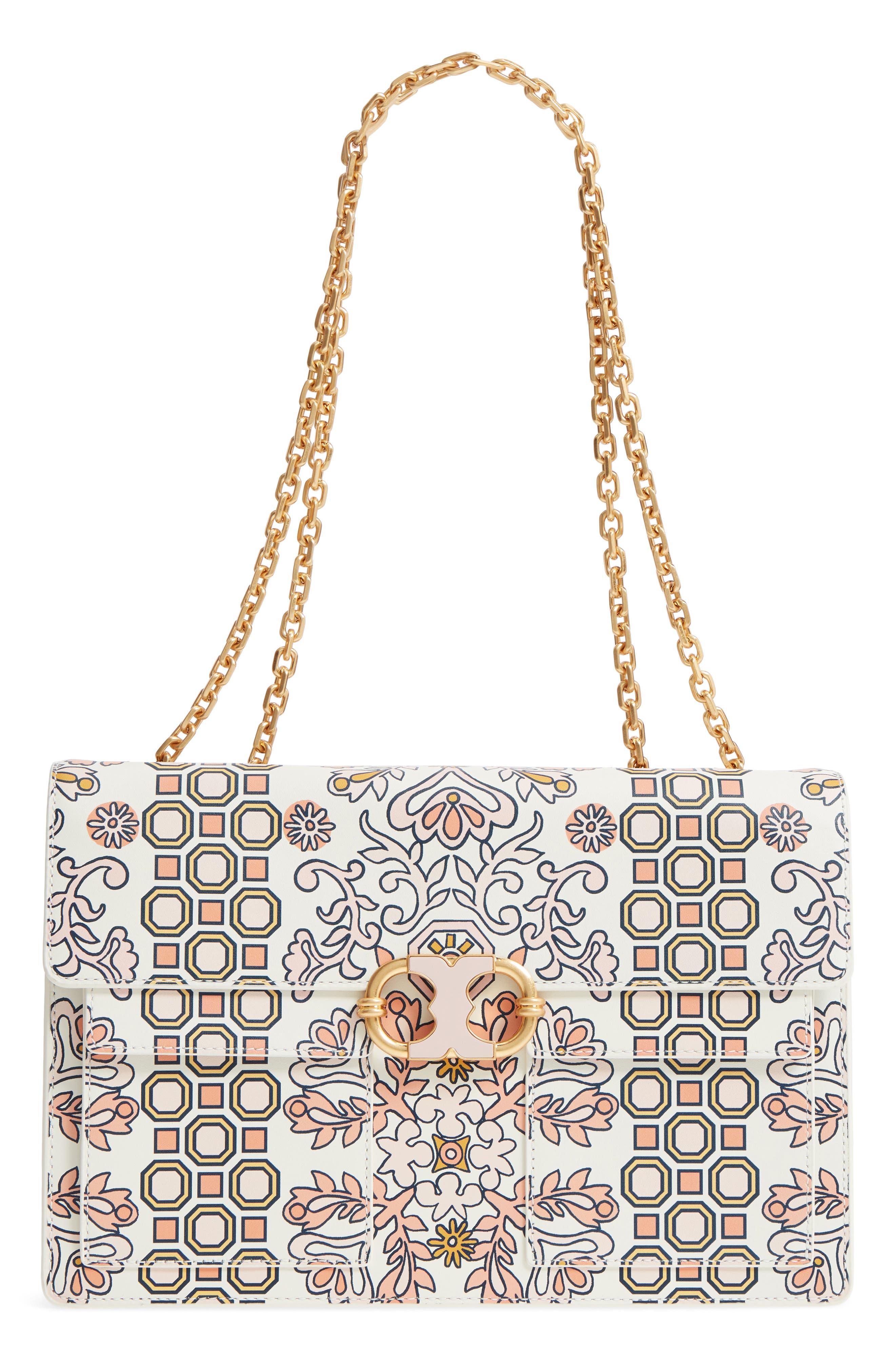 Large Gemini Link Print Leather Shoulder Bag,                         Main,                         color,