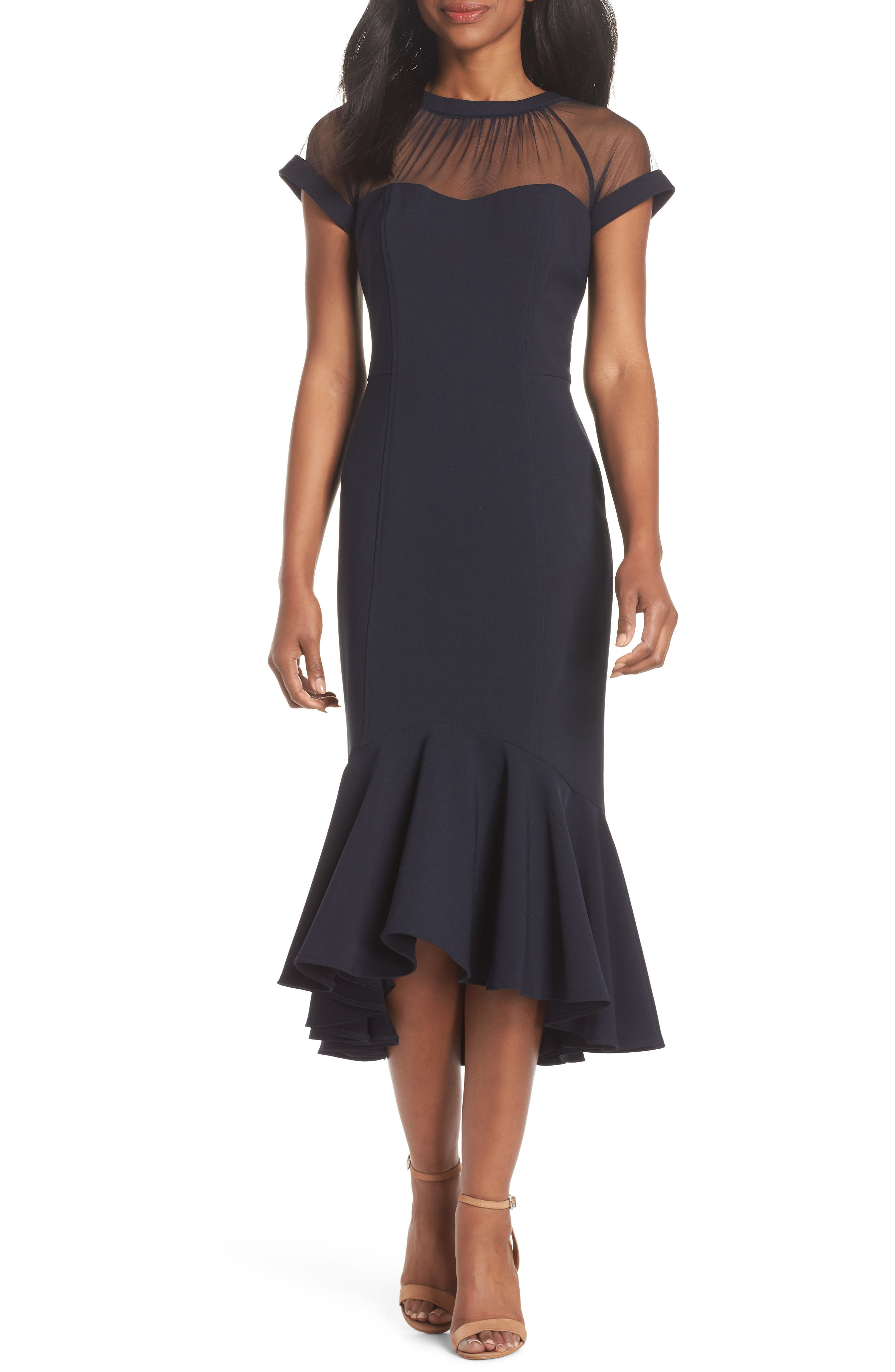 Illusion Neck Crepe Trumpet Dress,                         Main,                         color, DARK NAVY